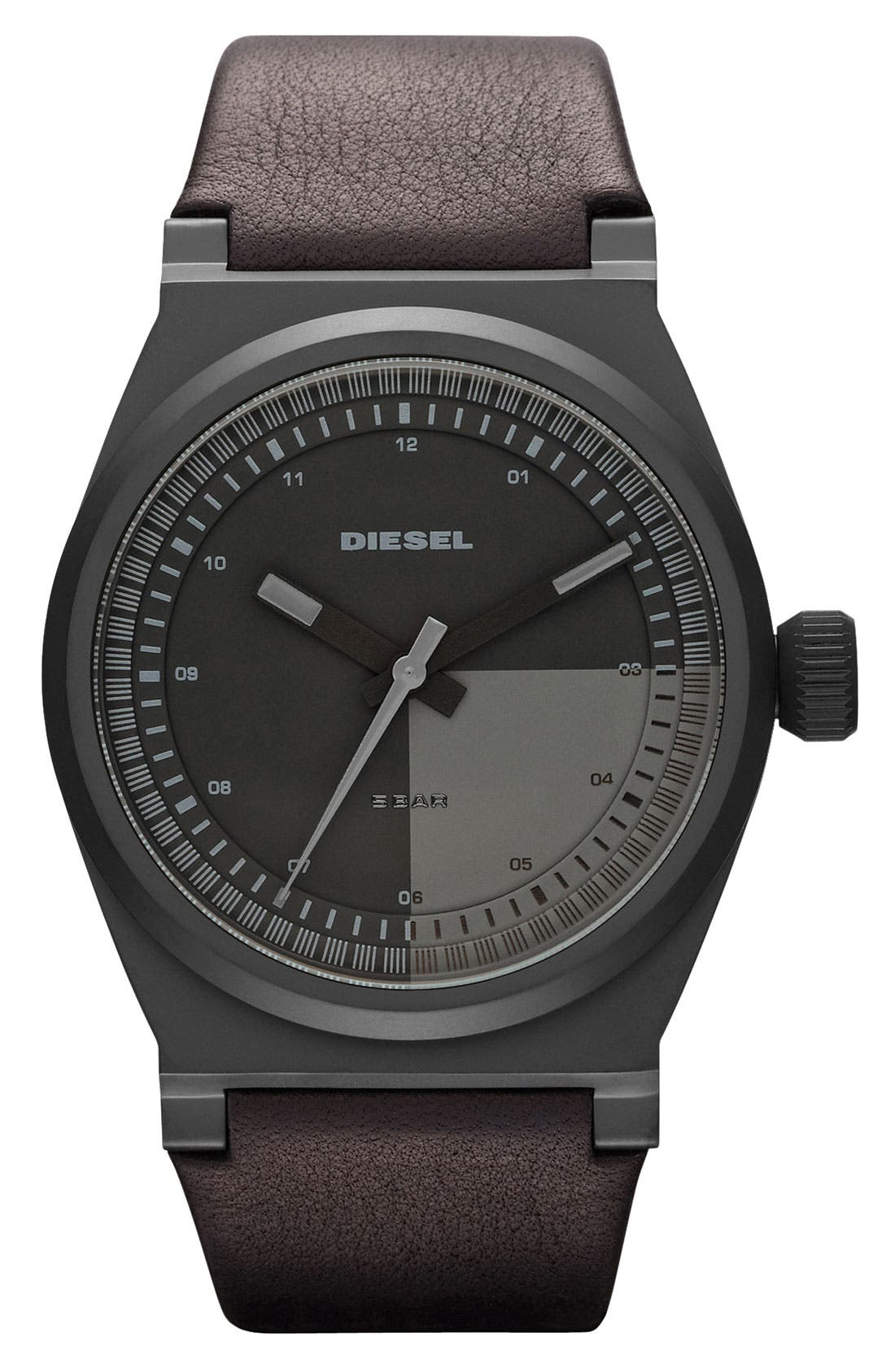 Main Image - DIESEL® 'Turbo' Leather Strap Watch, 44mm x 51mm
