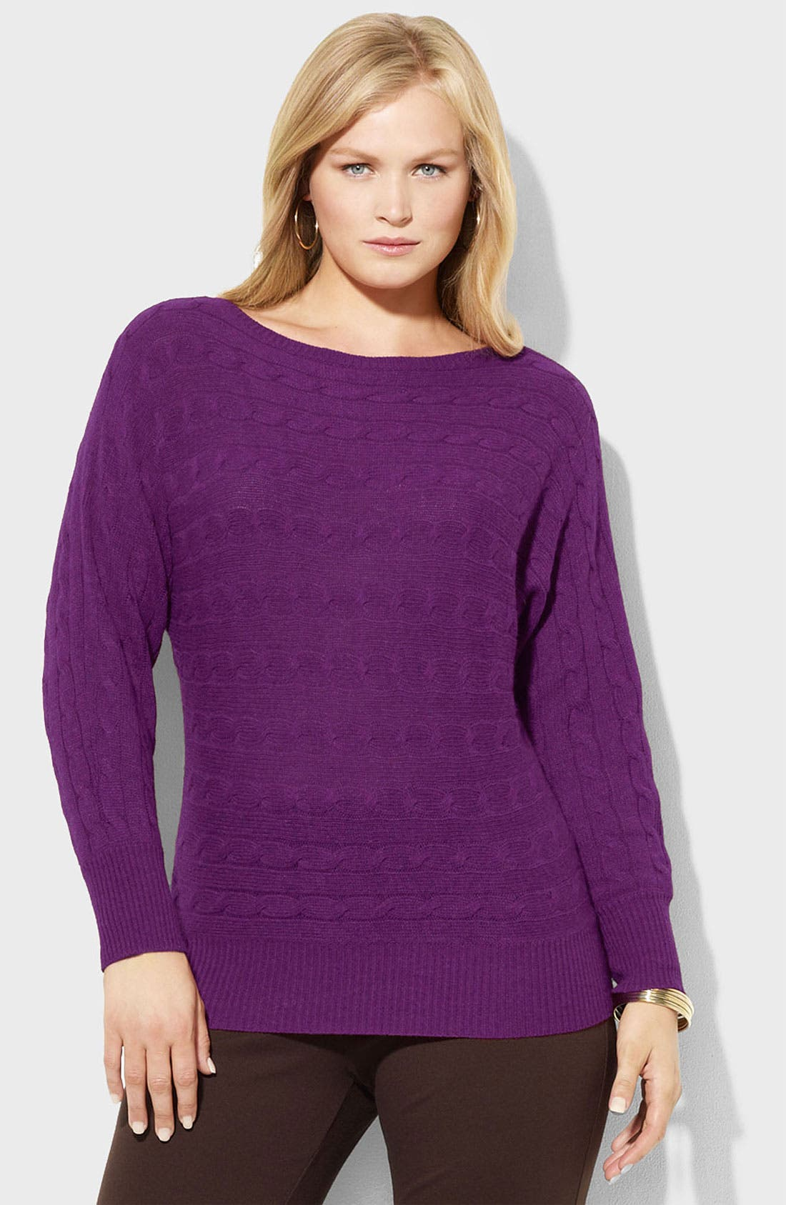 Main Image - Lauren Ralph Lauren Bateau Neck Cable Sweater (Plus)