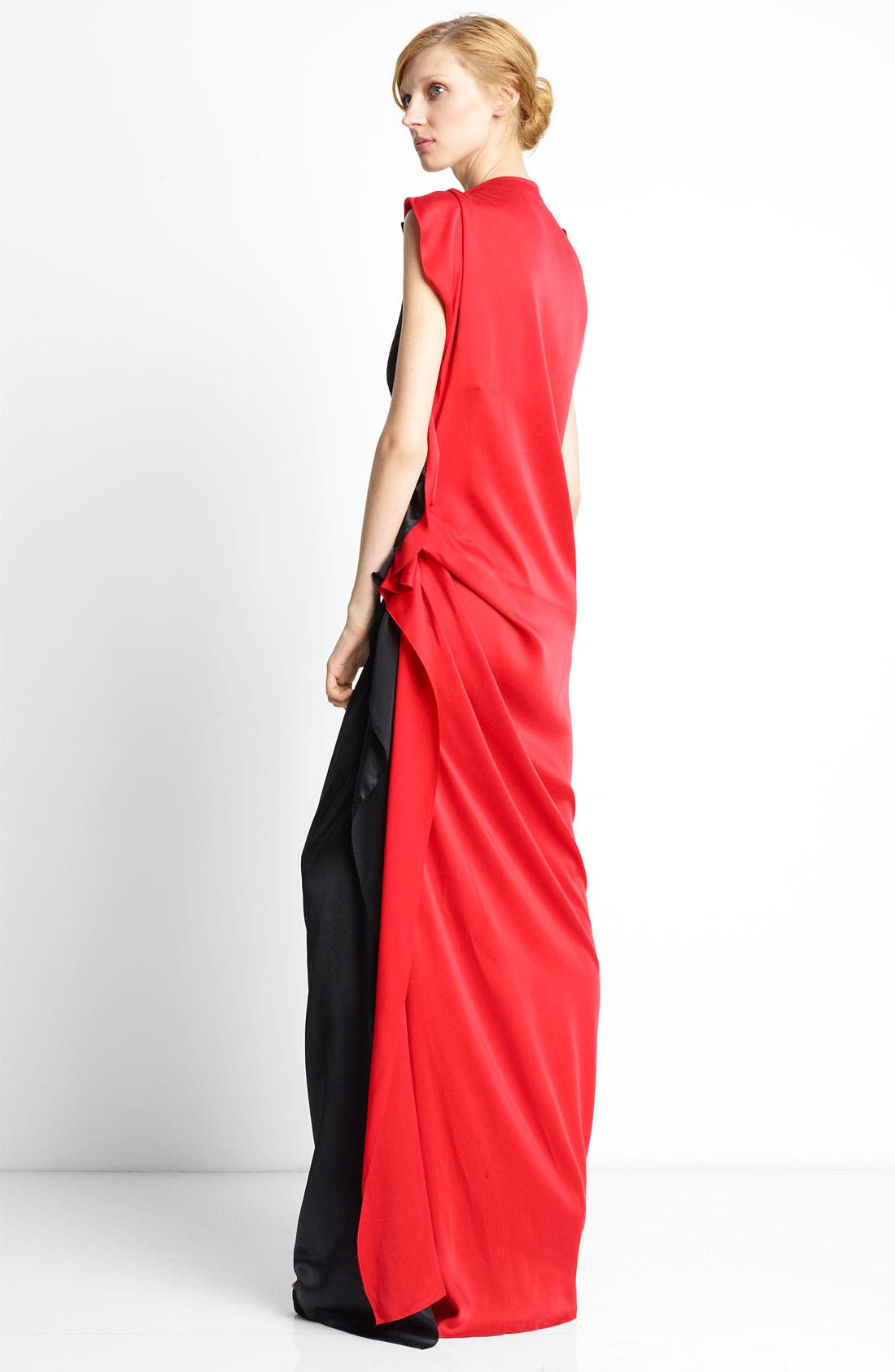 Alternate Image 2  - Lanvin Side Ruffle Bicolor Silk Gown