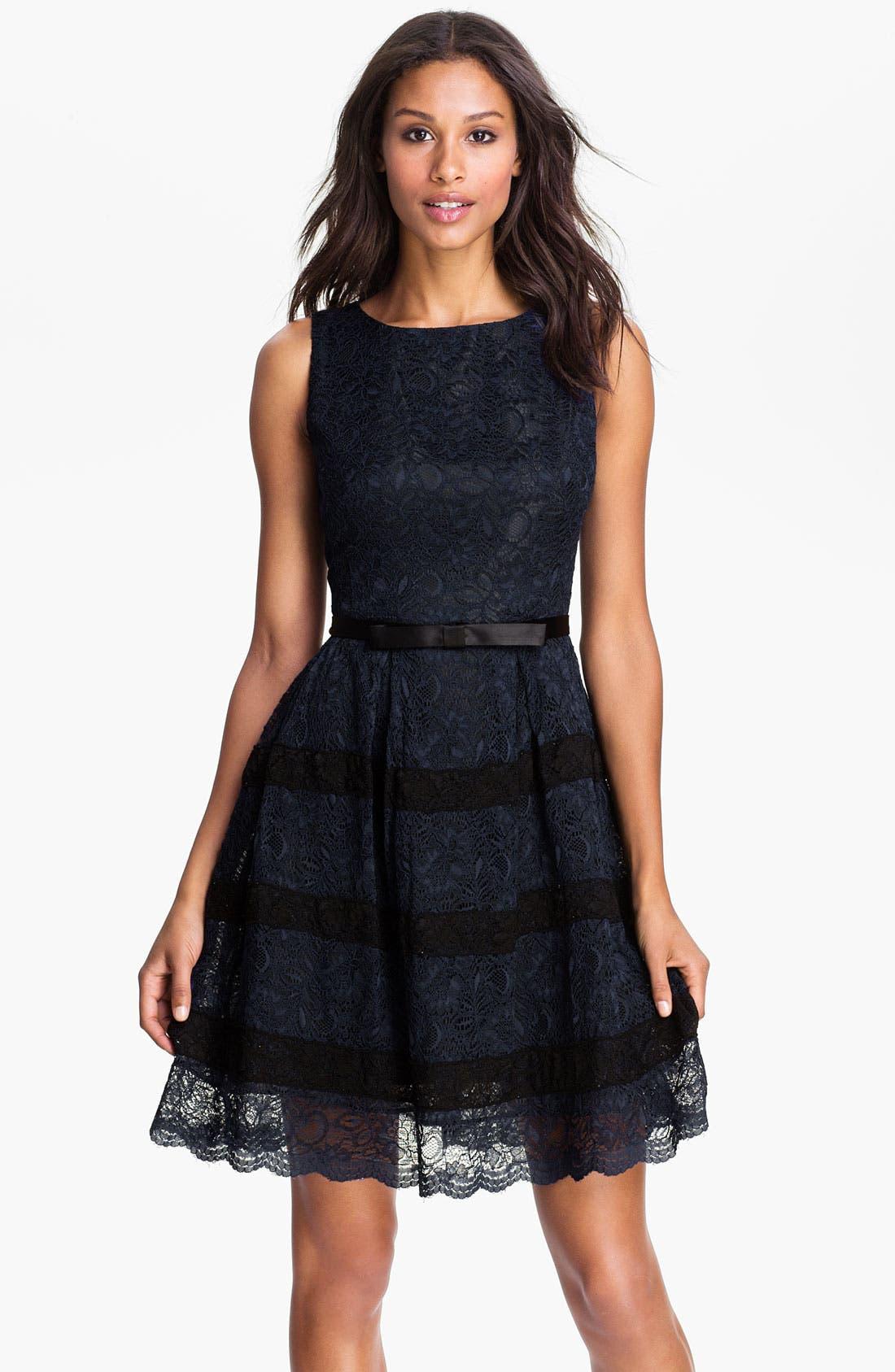 Main Image - Taylor Dresses Button Back Lace Fit & Flare Dress