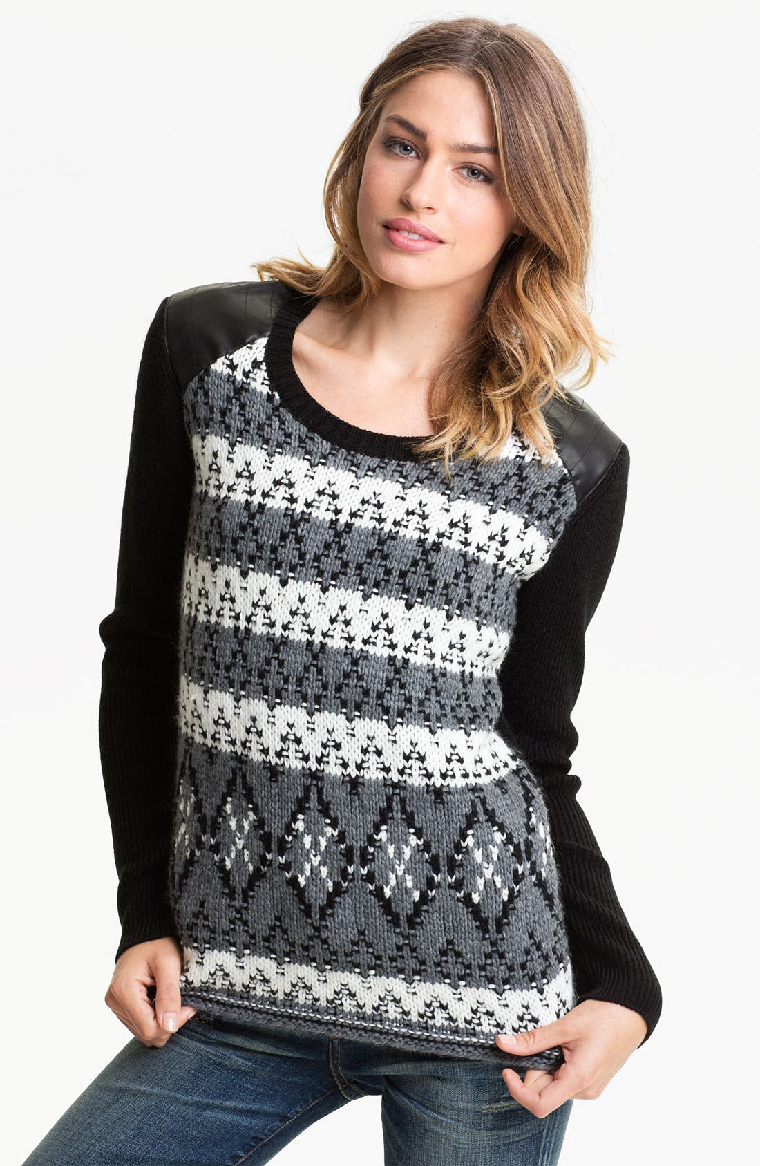 Main Image - Trouvé Fair Isle Leather Shoulder Sweater
