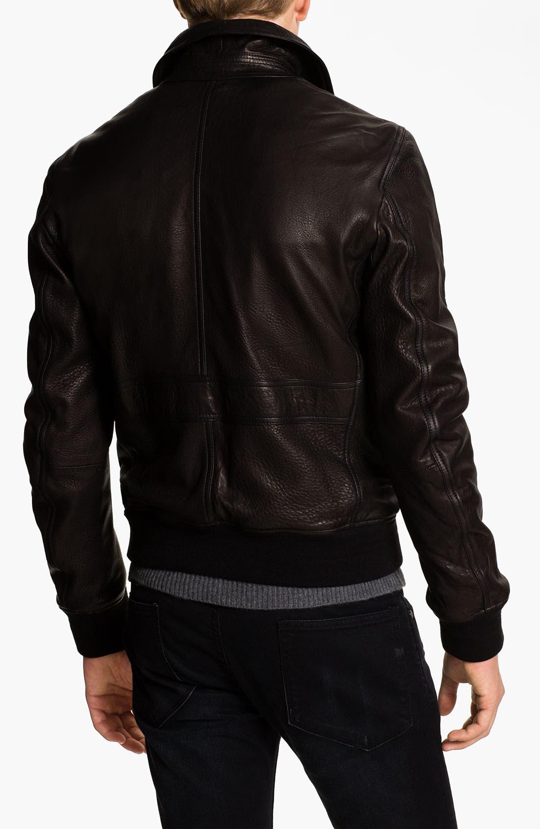 Alternate Image 2  - Burberry Brit Leather Moto Jacket
