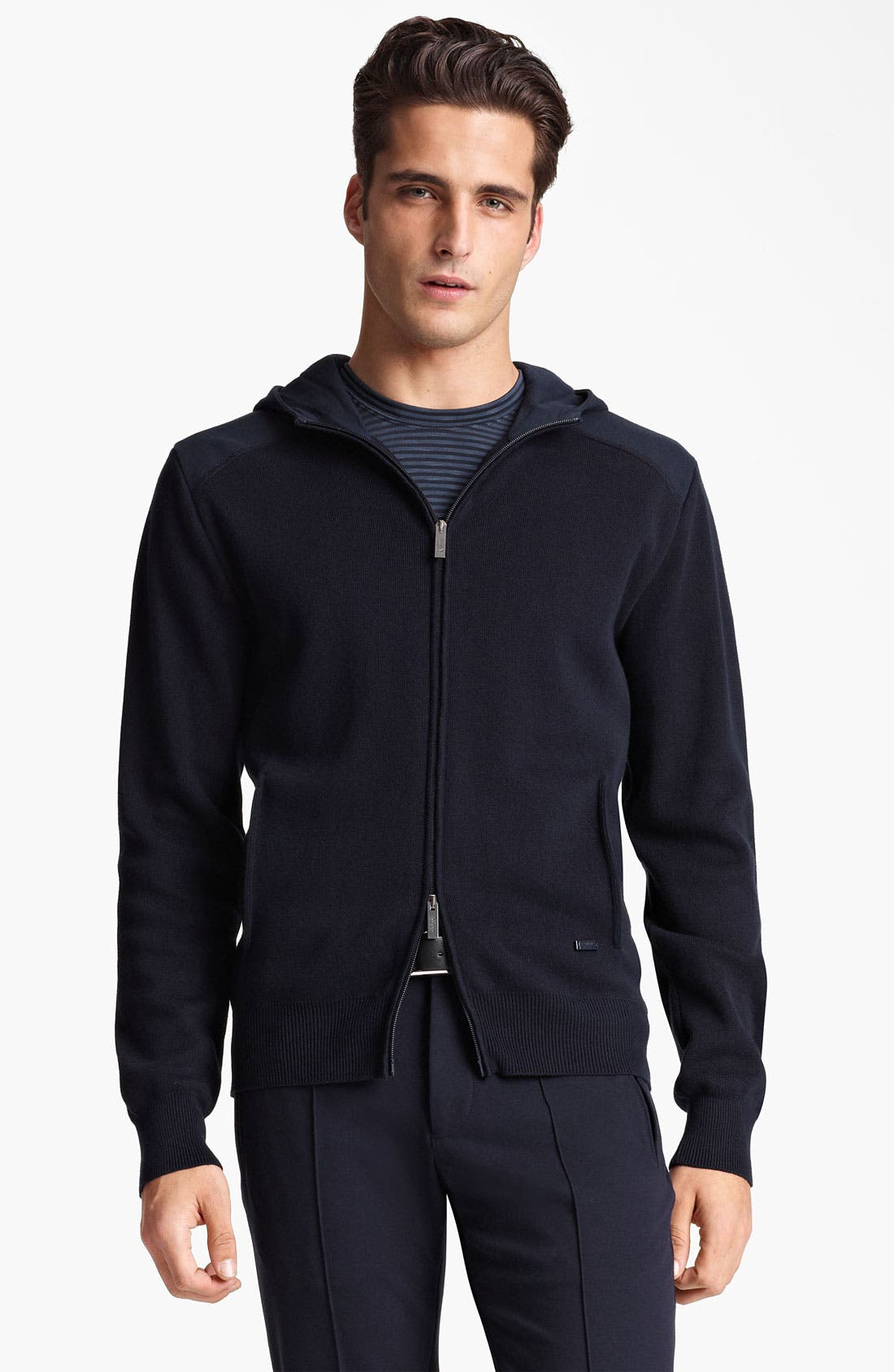 Alternate Image 1 Selected - Armani Collezioni Knit Zip Hoodie