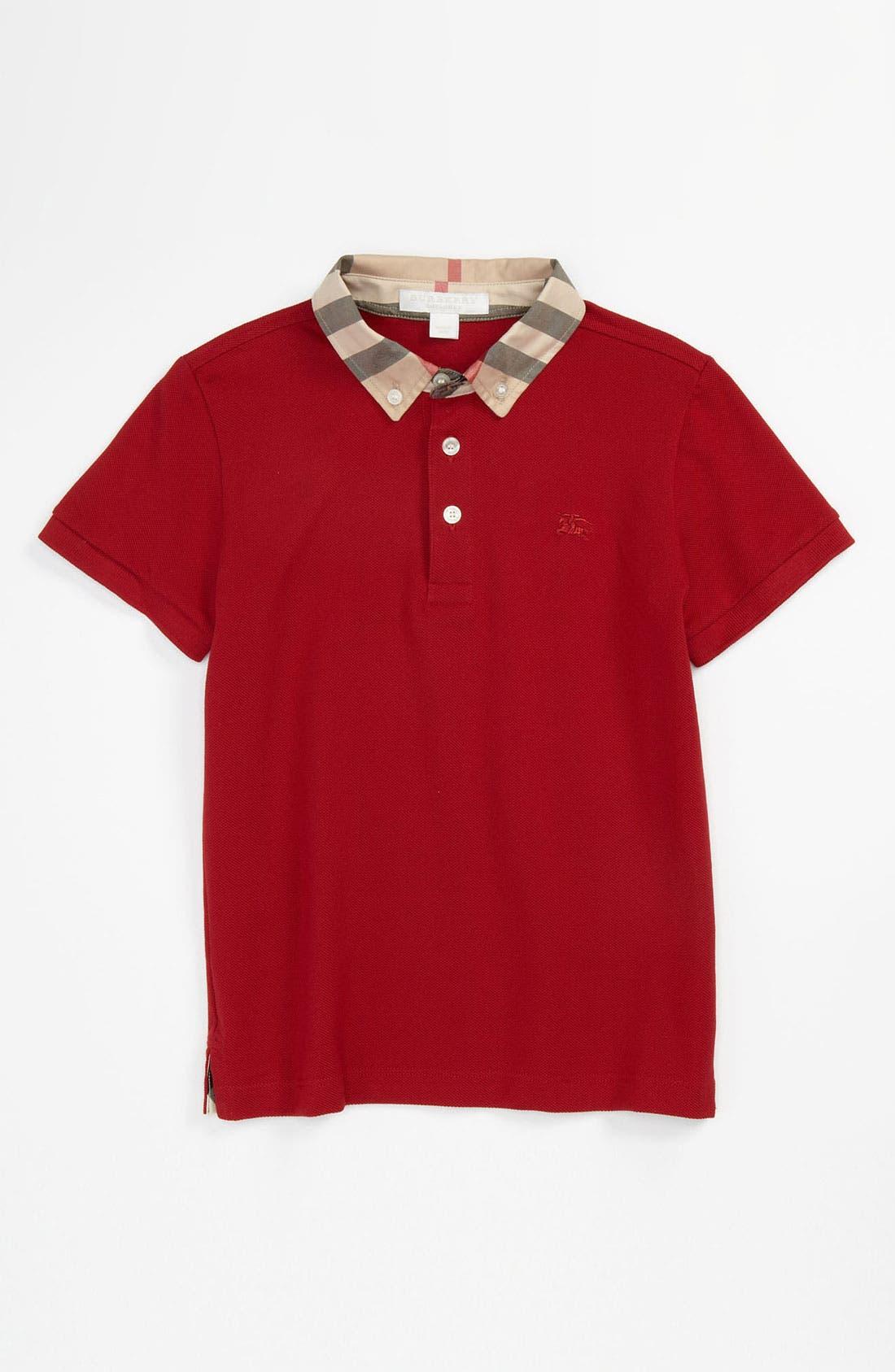 Alternate Image 1 Selected - Burberry Check Collar Polo (Toddler, Little Boys & Big Boys)