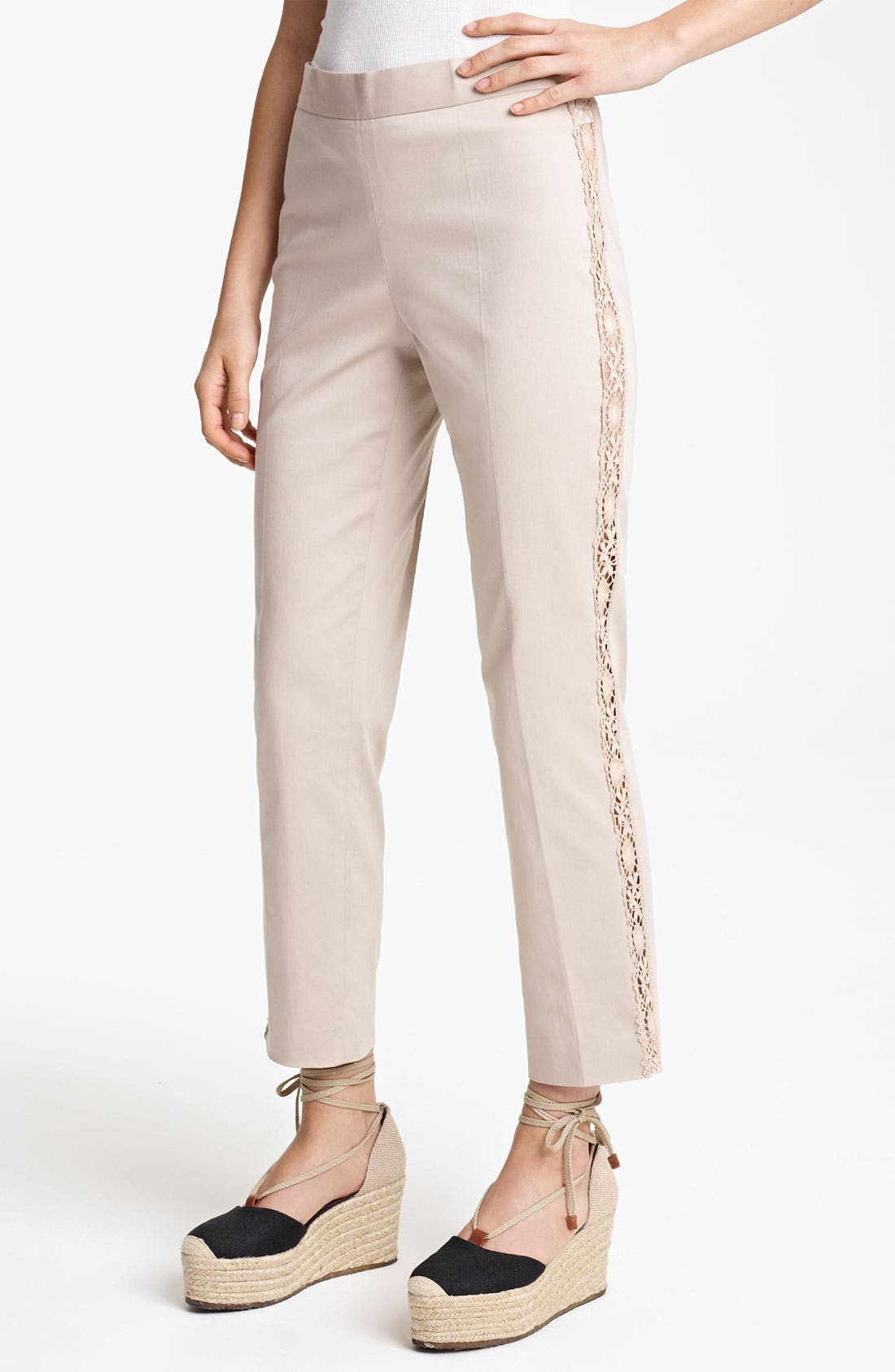 Alternate Image 1 Selected - Jean Paul Gaultier Lace Detail Stretch Gabardine Pants