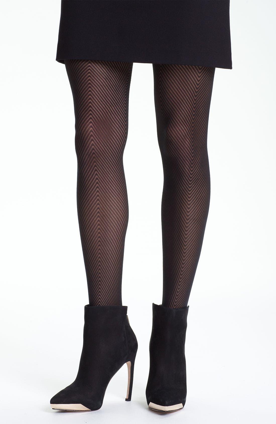 Alternate Image 1 Selected - Calvin Klein 'Overscale Herringbone' Tights