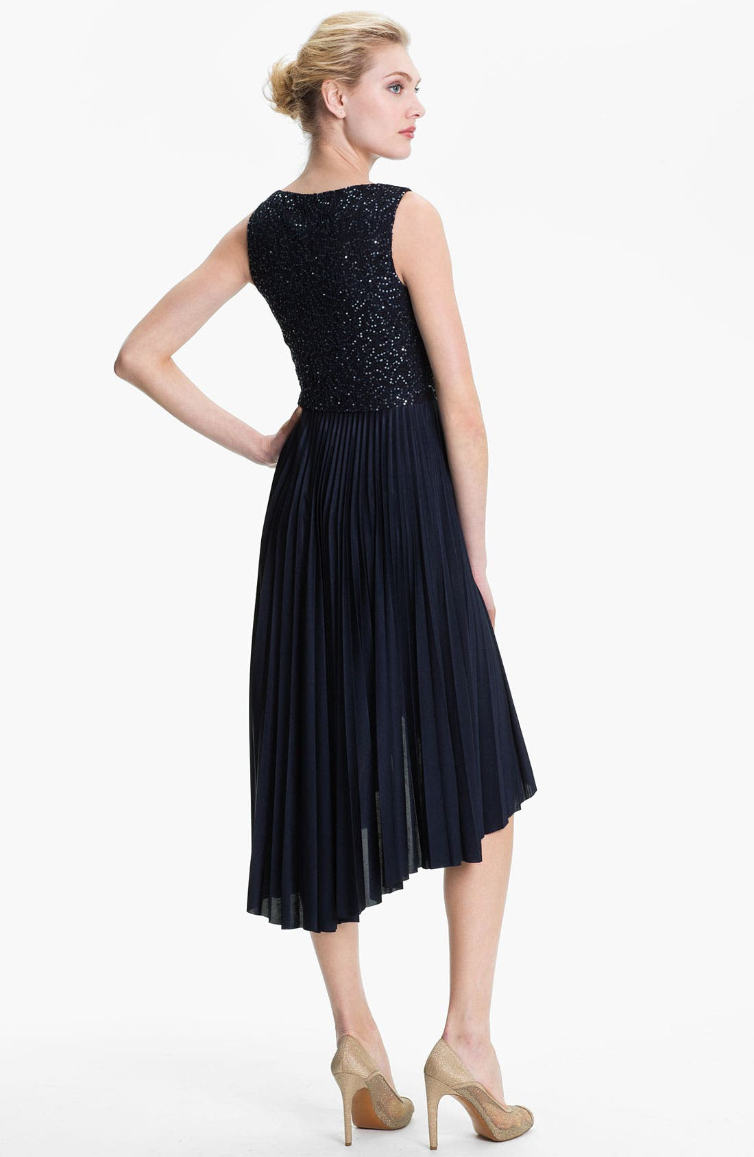 Alternate Image 2  - Suzi Chin for Maggy Boutique Sequin Bodice Pleated High/Low Dress