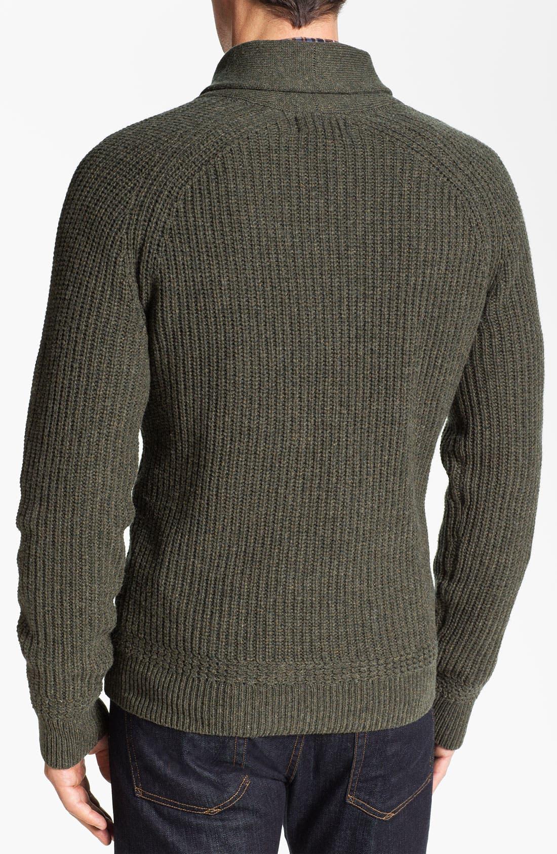 Alternate Image 2  - Wallin & Bros. Shawl Collar Merino Wool Blend Sweater