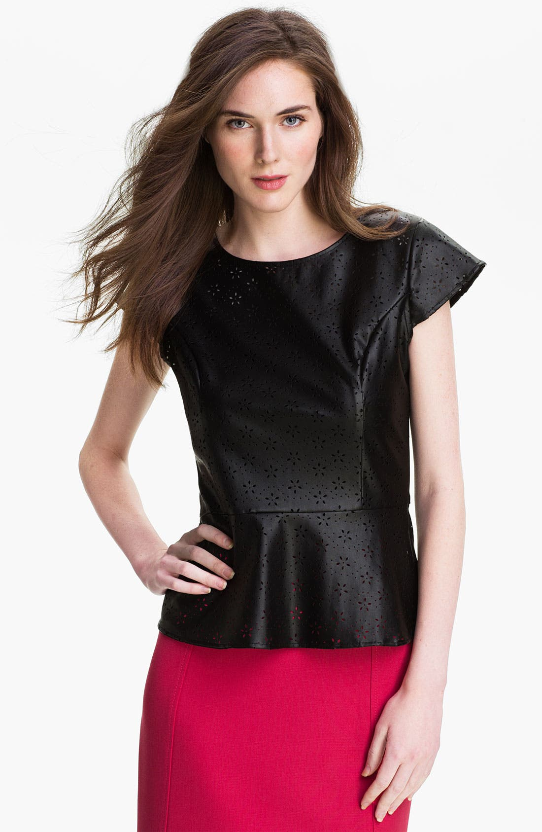 Main Image - Max & Mia Perforated Faux Leather Top