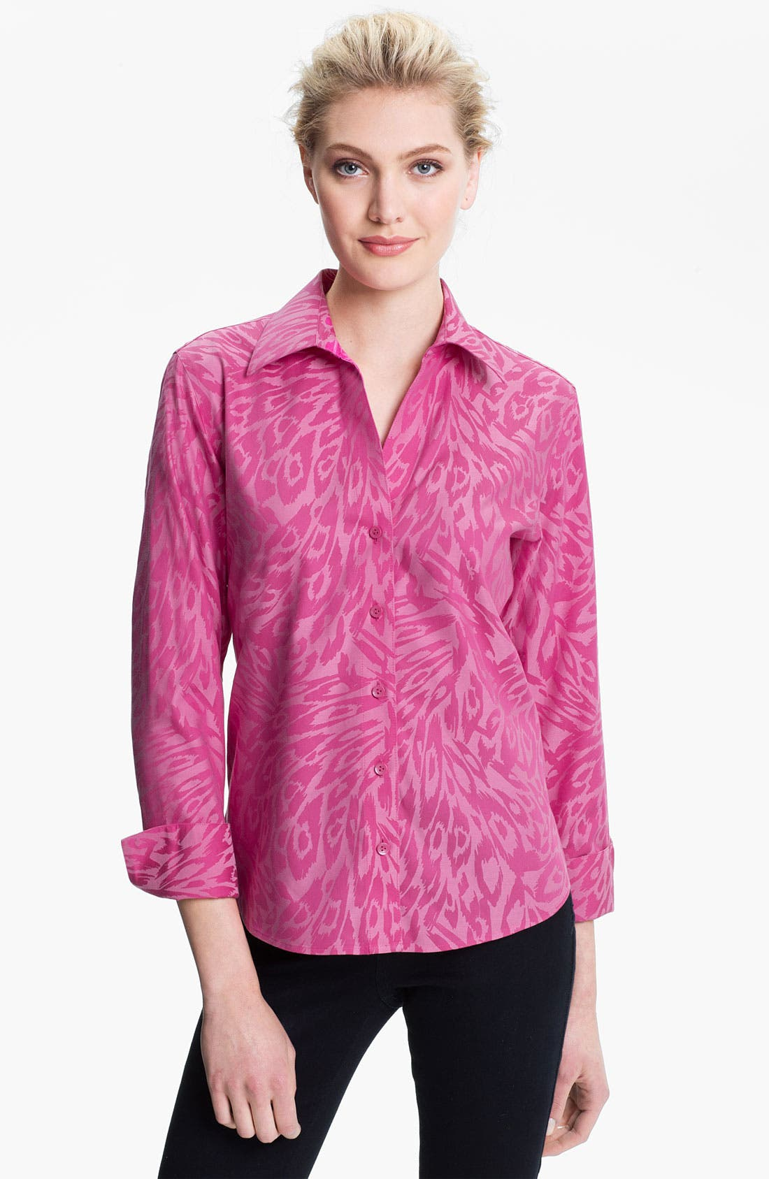 Alternate Image 1 Selected - Foxcroft Animal Jacquard Shirt