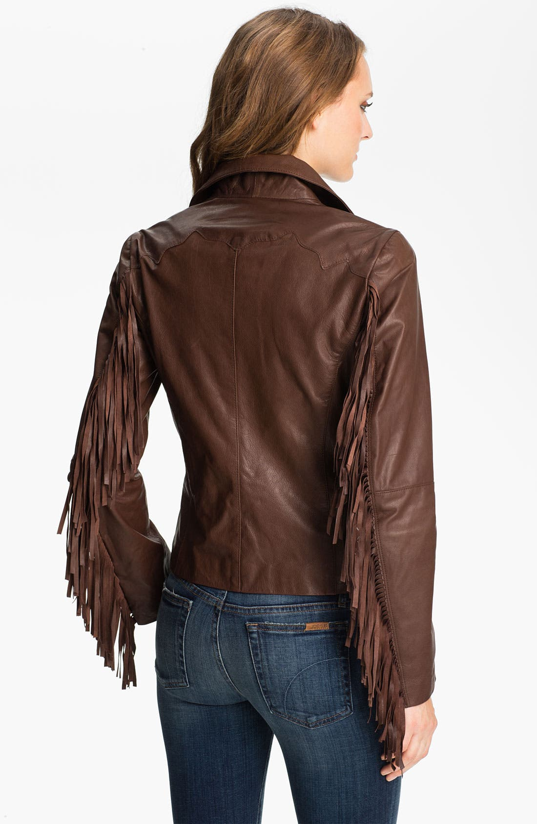 Alternate Image 2  - Sam Edelman Fringed Asymmetrical Leather Jacket