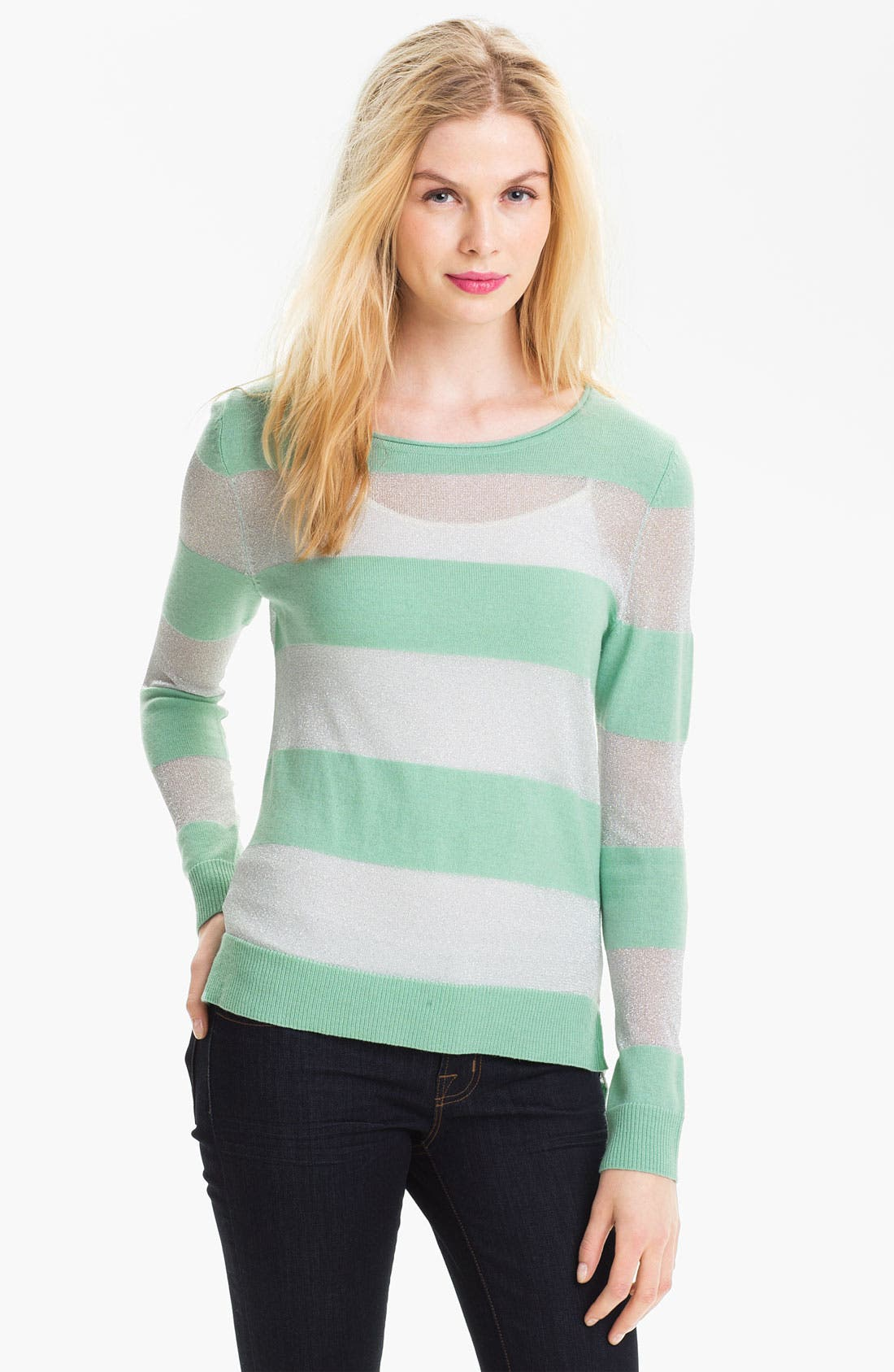 Alternate Image 1 Selected - Vince Camuto Shimmer Stripe Knit Sweater