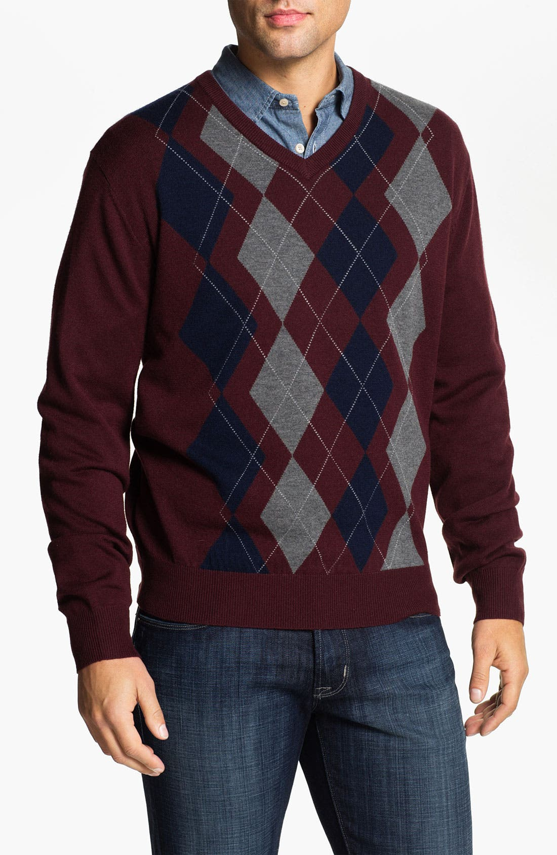 Alternate Image 1 Selected - Toscano Merino Wool Blend V-Neck Sweater