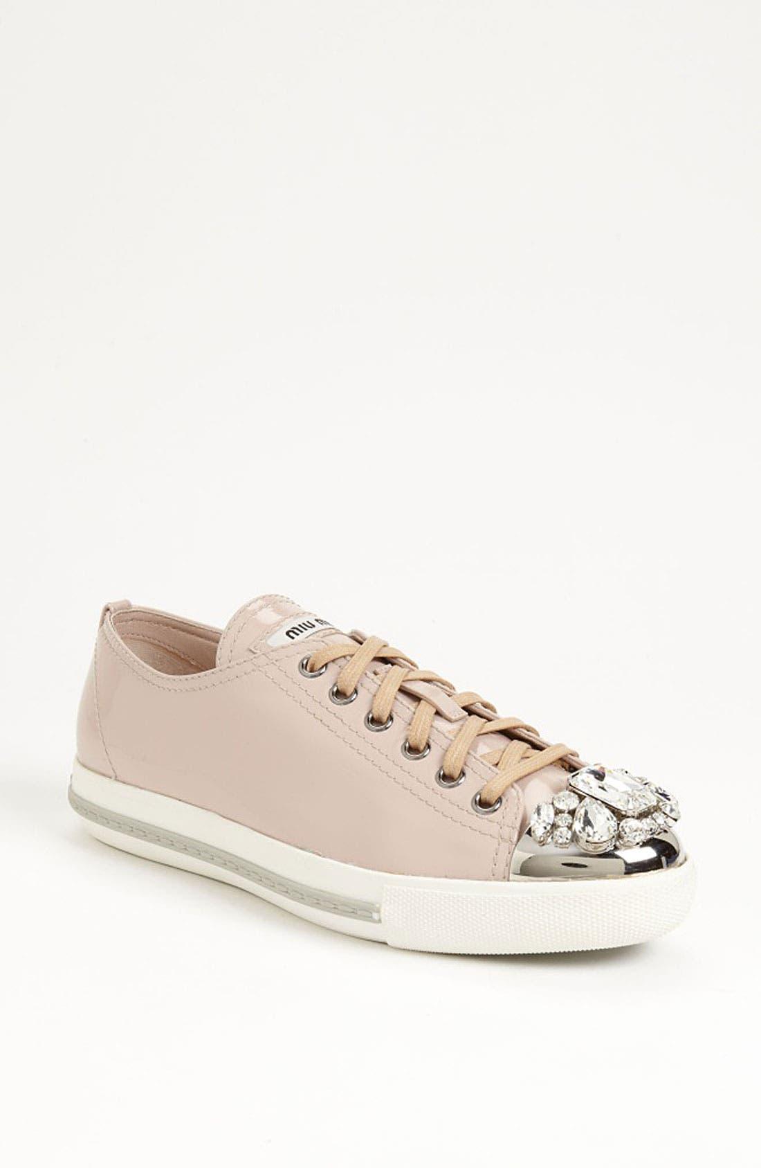 Alternate Image 1 Selected - Miu Miu Crystal Cap Toe Sneaker