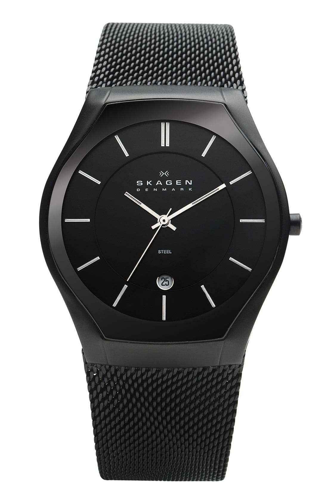 Alternate Image 1 Selected - Skagen Round Mesh Strap Watch