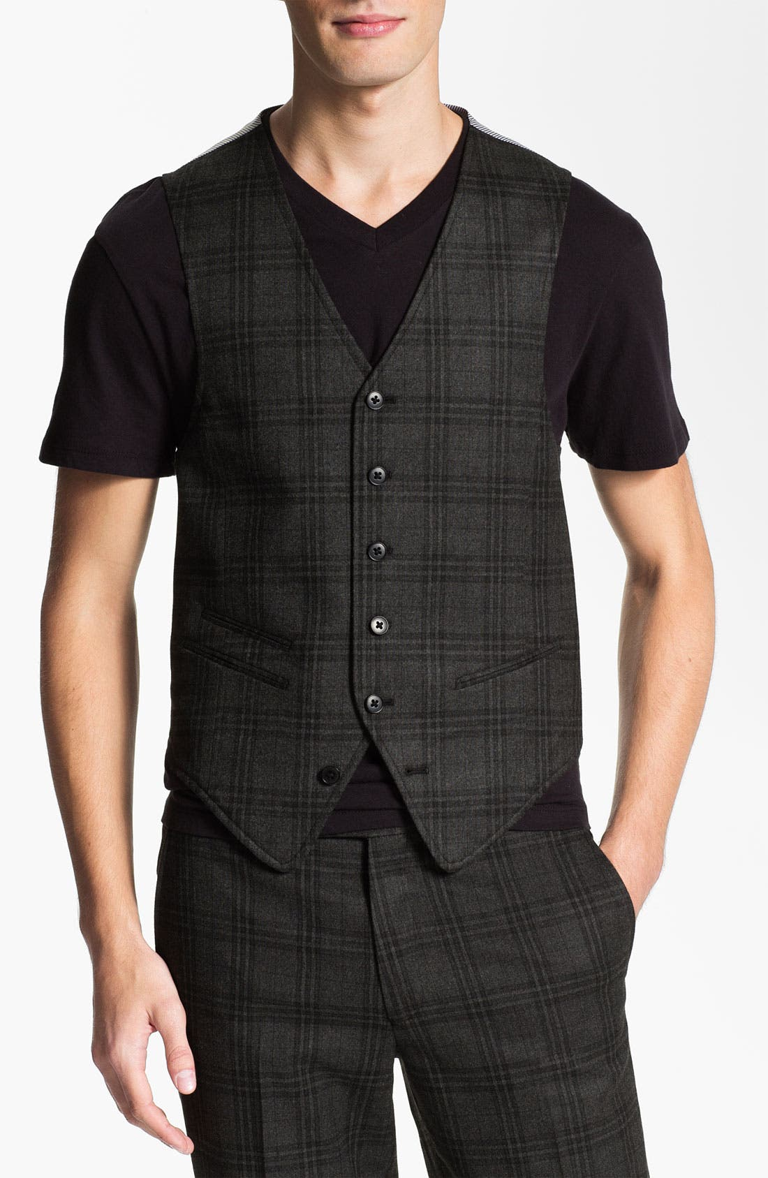 Alternate Image 1 Selected - John Varvatos Star USA Red Label Plaid Vest