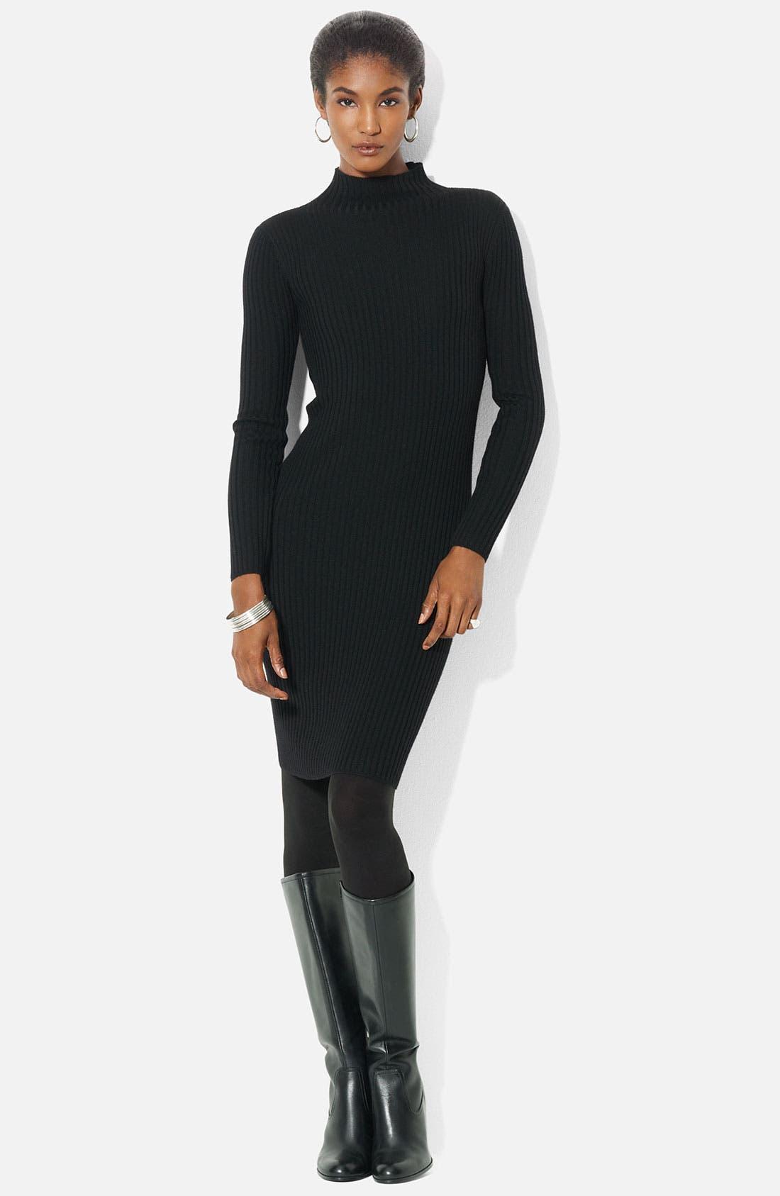 Alternate Image 1 Selected - Lauren Ralph Lauren Mock Neck Merino Dress (Petite)