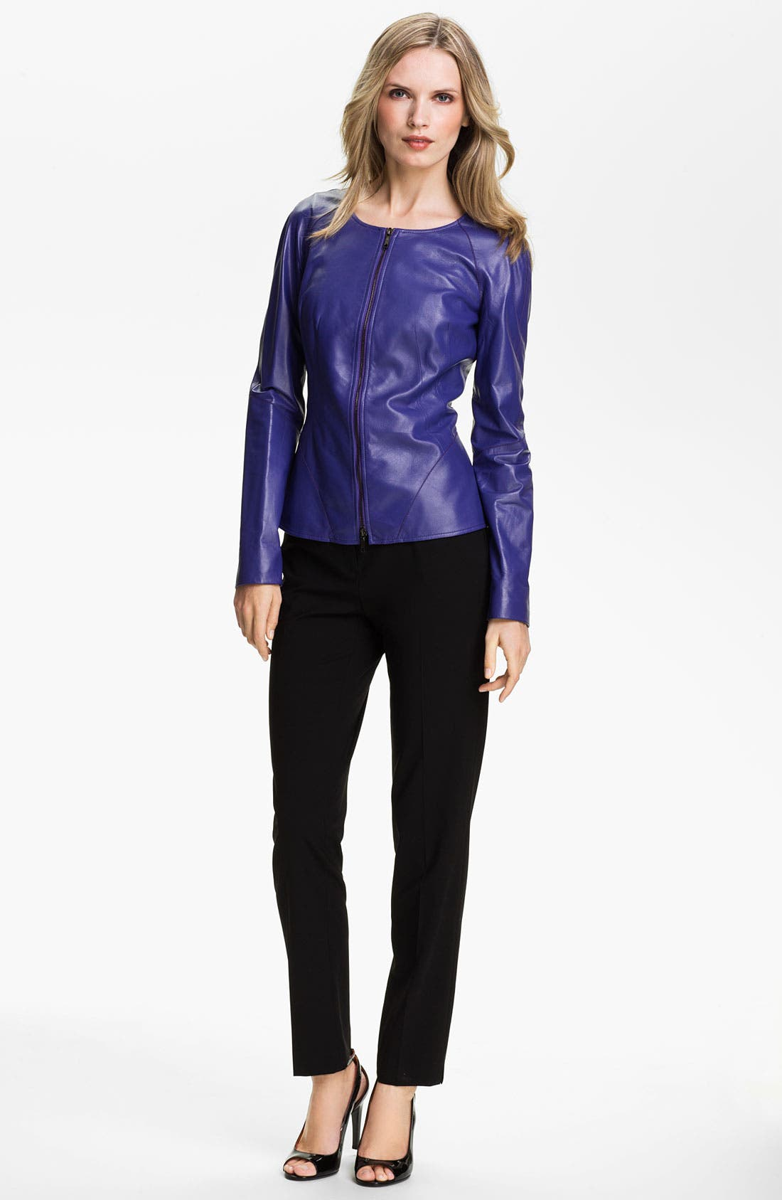 Alternate Image 4  - Lafayette 148 New York Leather Moto Jacket