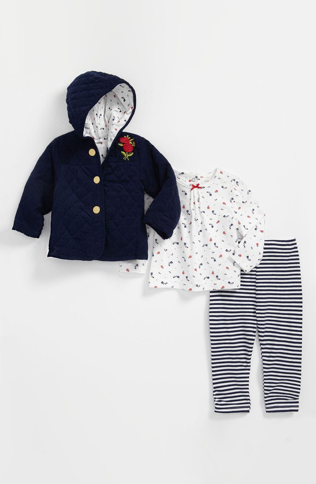 Alternate Image 1 Selected - Little Me 'Navy Rose' Top, Leggings & Jacket (Infant)