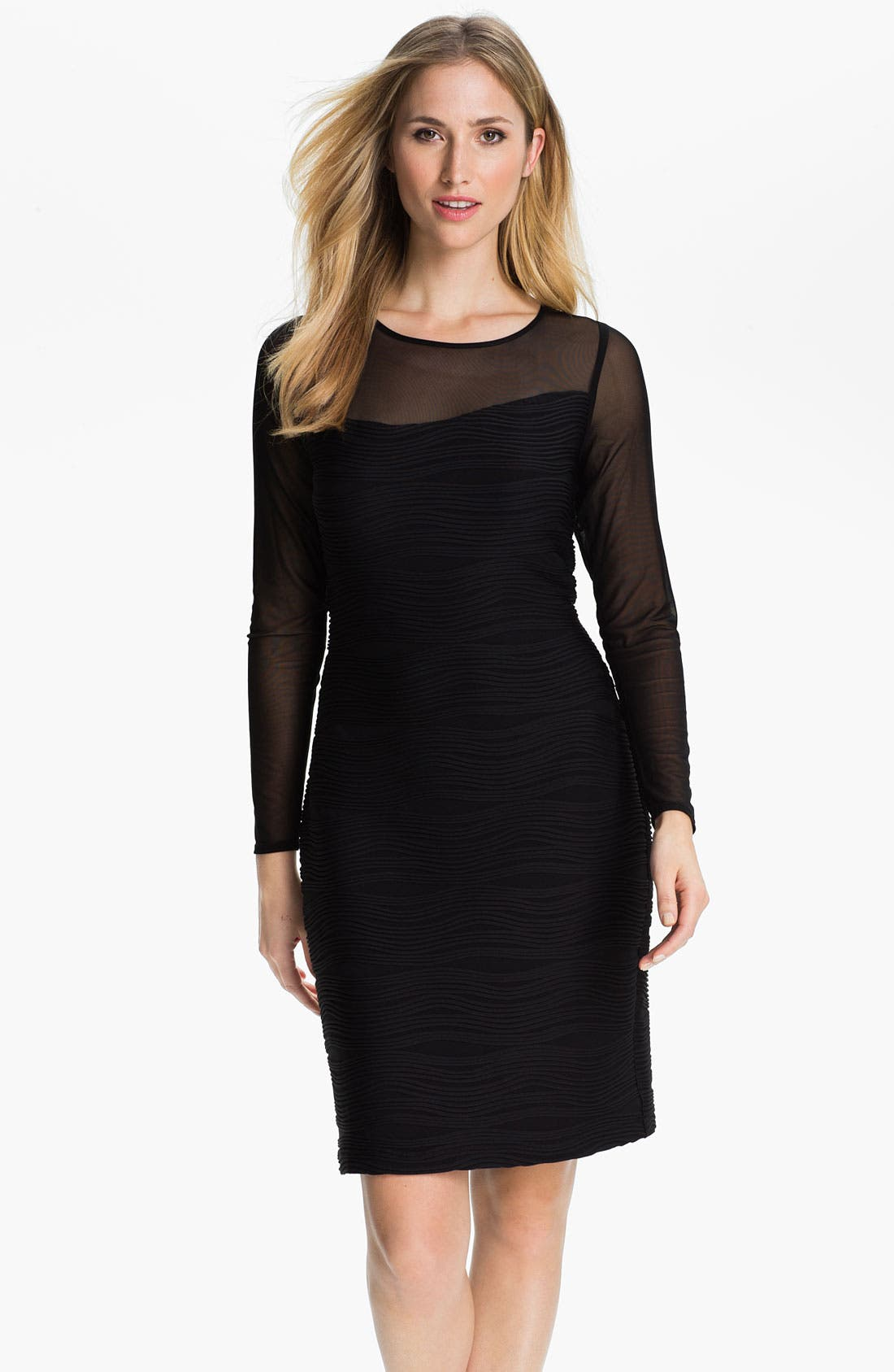 Main Image - Donna Ricco Illusion Sleeve Textured Sheath Dress