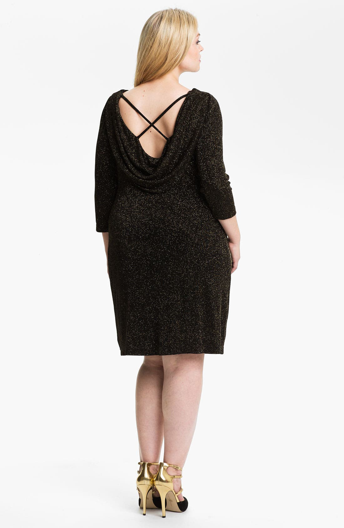 Alternate Image 2  - Adrianna Papell Cowl Neck Sparkle Knit Shift Dress (Plus)