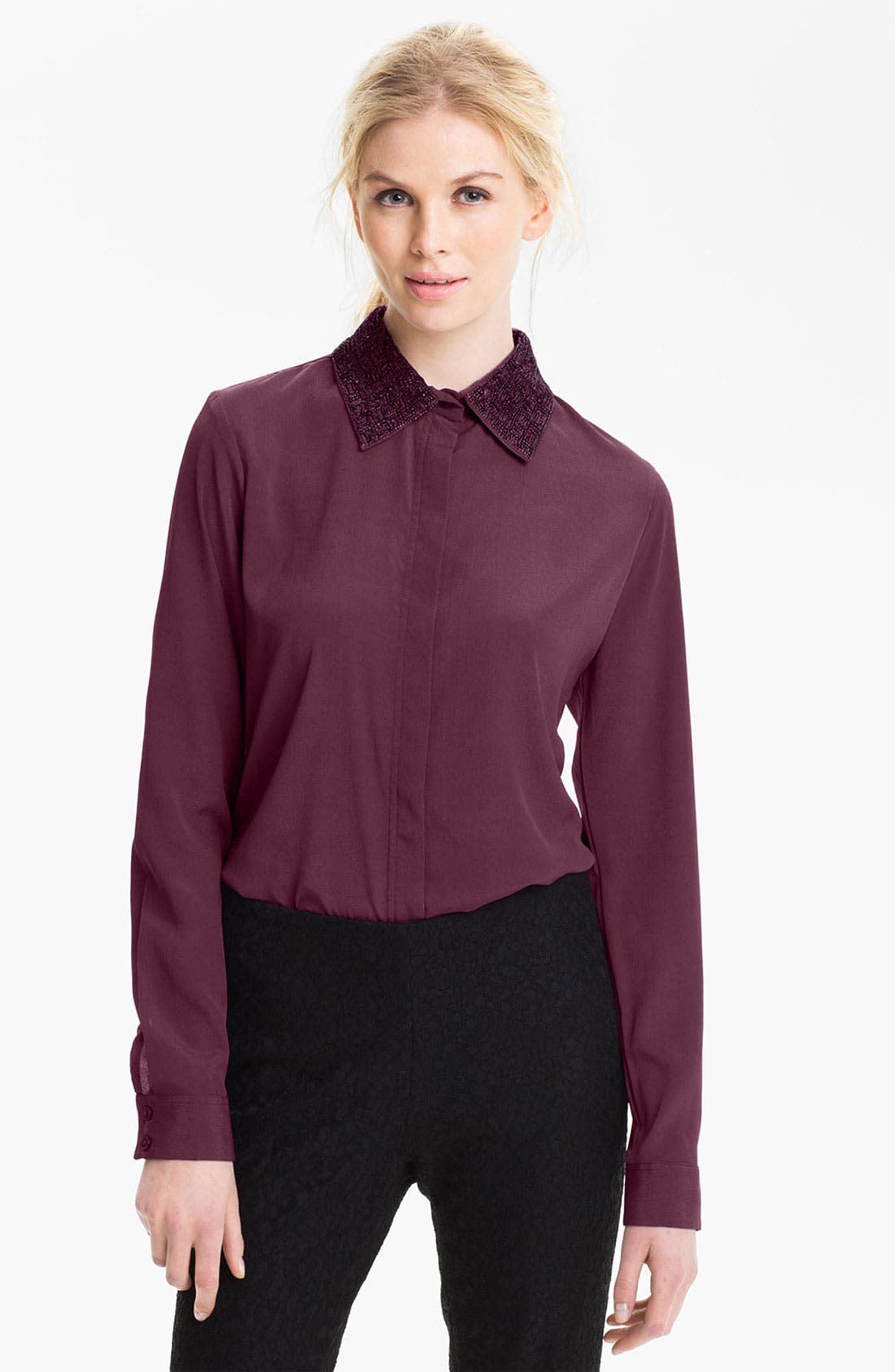 Alternate Image 1 Selected - Max & Mia Embellished Collar Blouse