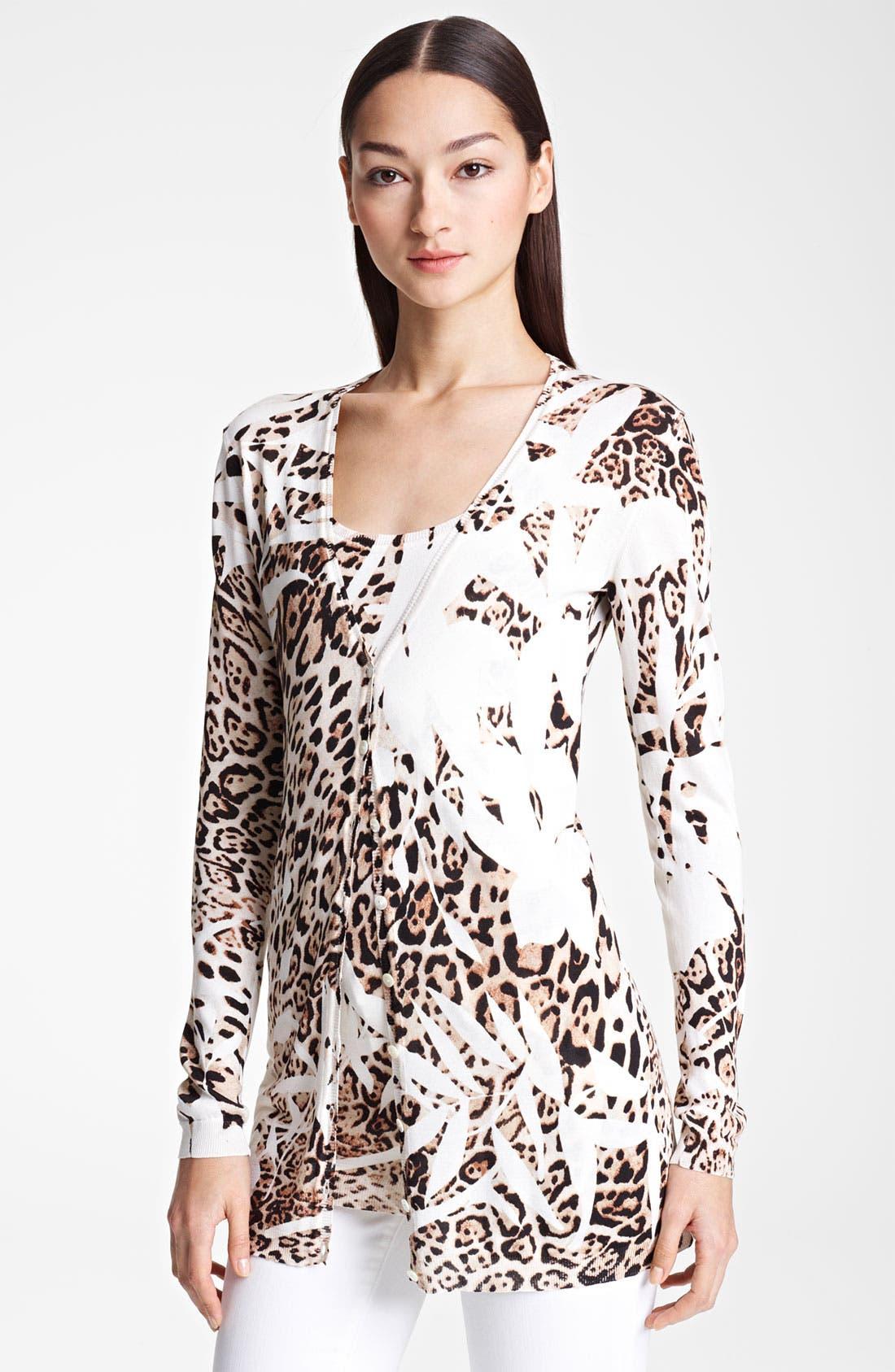 Main Image - Blumarine Animal Print Knit Silk Cardigan