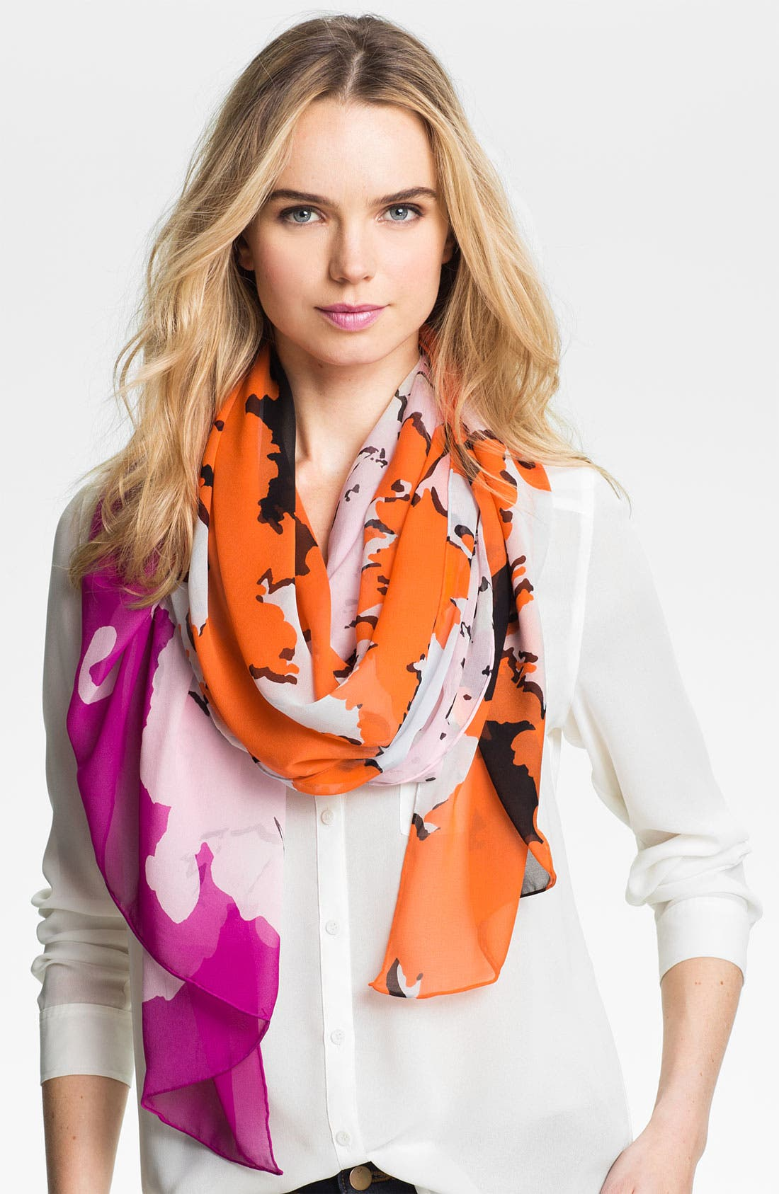 Alternate Image 1 Selected - Diane von Furstenberg Washed Silk Chiffon Scarf