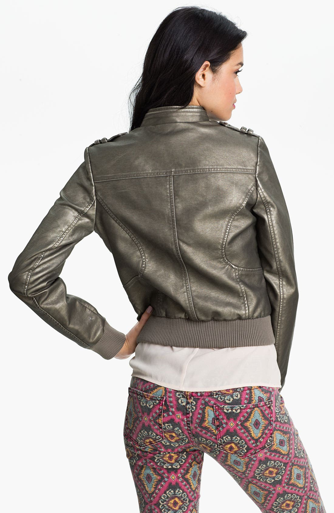 Alternate Image 2  - Collection B Metallic Faux Leather Moto Jacket (Juniors)
