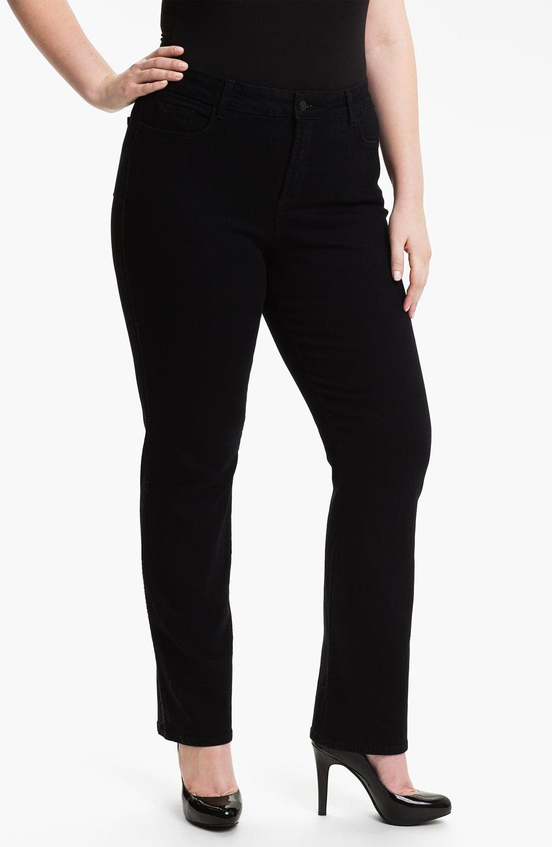 Alternate Image 1 Selected - NYDJ 'Marilyn' Tuxedo Stripe Straight Leg Jeans (Plus)