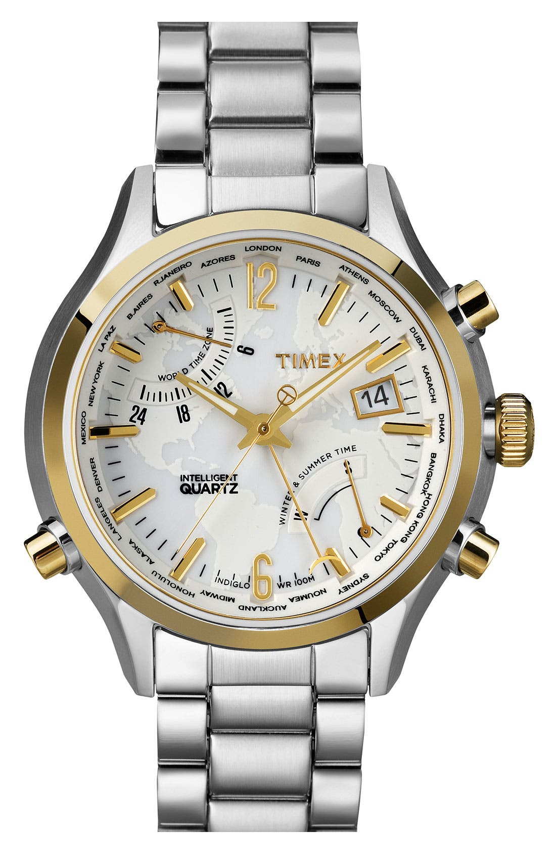 Main Image - Timex® 'Intelligent Quartz' World Time Bracelet Watch, 44mm