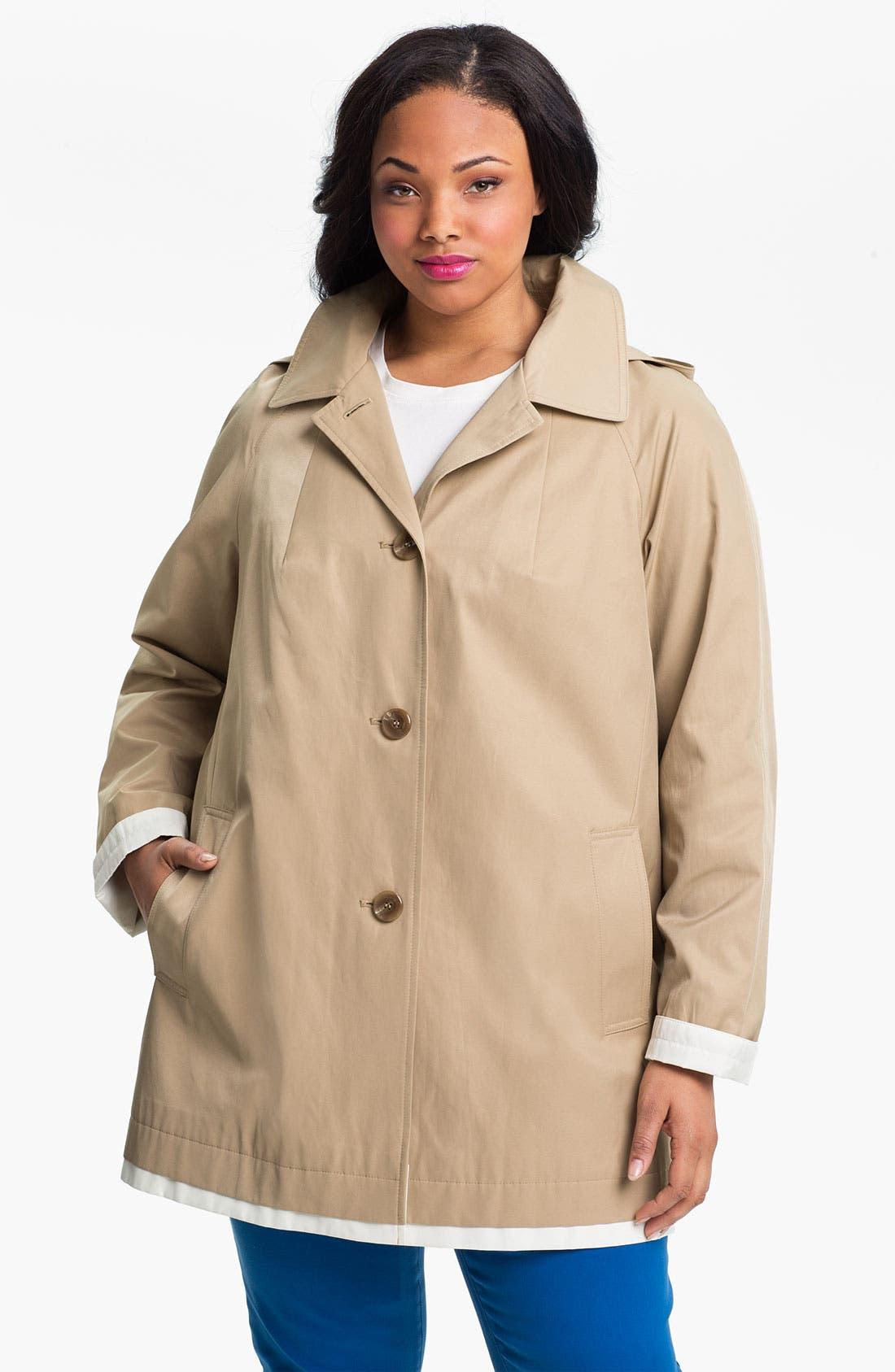 Main Image - Gallery Contrast Trim A-Line Coat (Plus Size)