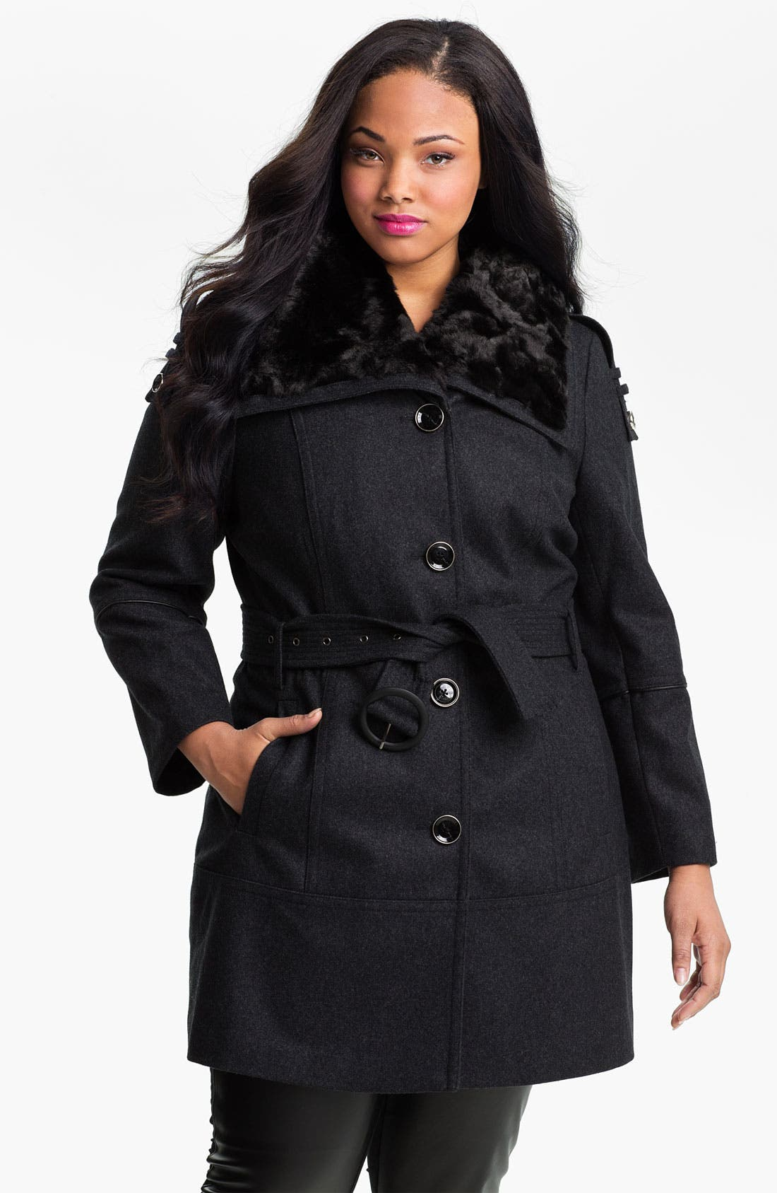 Alternate Image 1 Selected - Miss Sixty Walking Coat with Faux Fur Collar (Plus) (Online Exclusive)