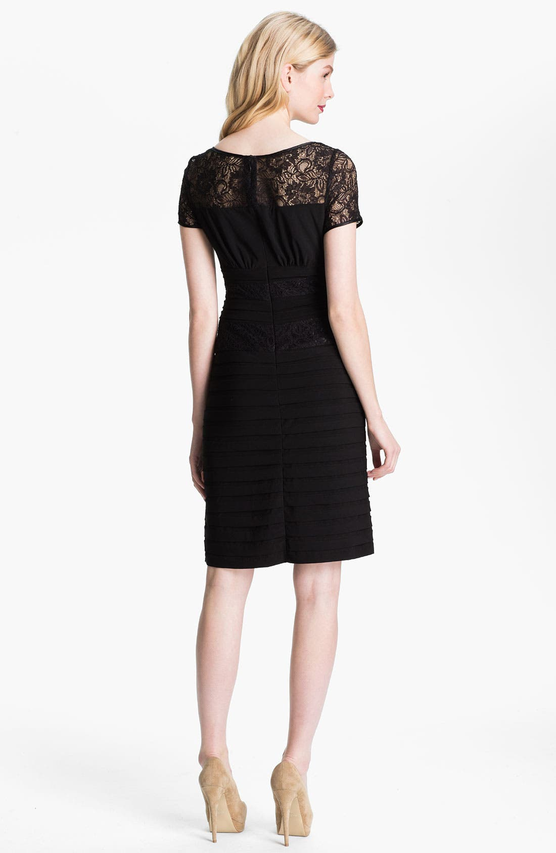 Alternate Image 2  - Adrianna Papell Illusion Yoke Pleated Jersey Dress