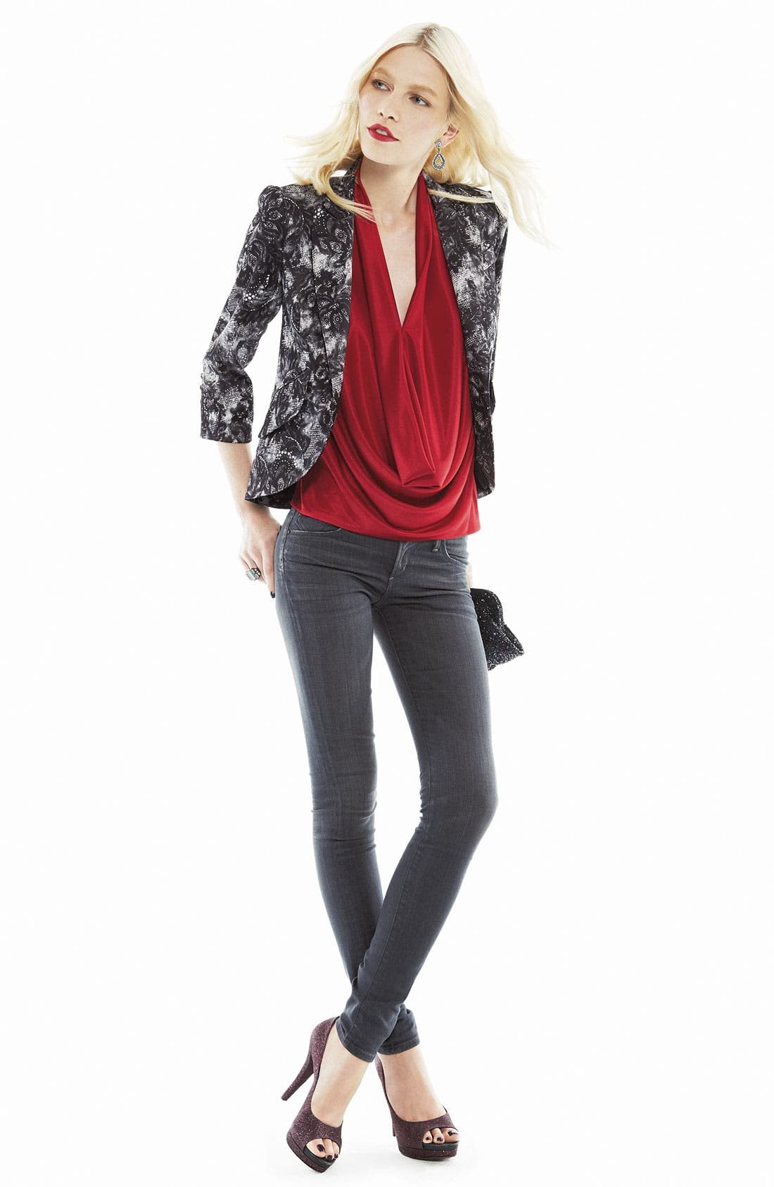 Alternate Image 4  - Bellatrix Lace Print Blazer (Petite)