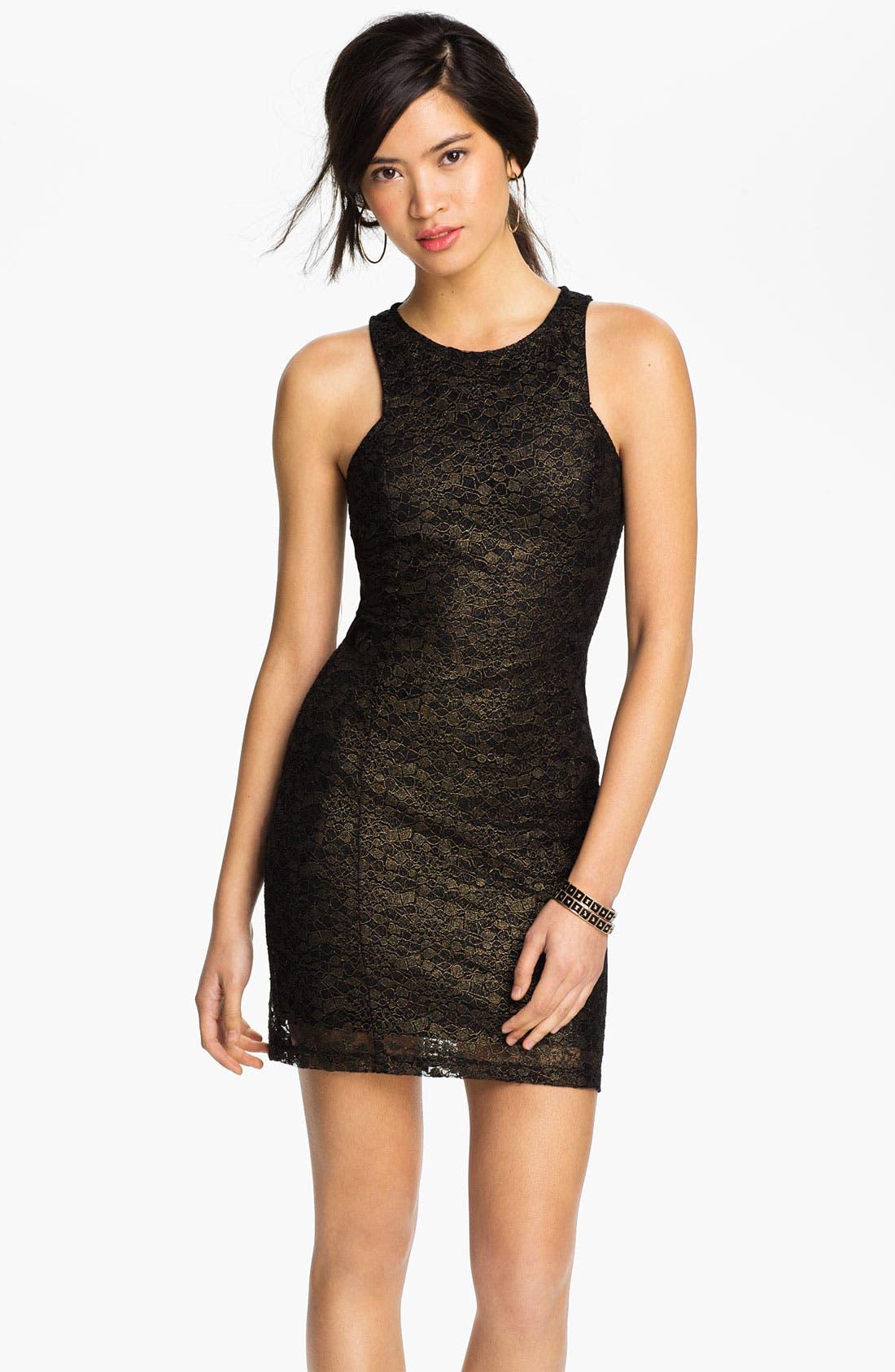 Main Image - Lush Metallic Lace Body-Con Dress (Juniors)