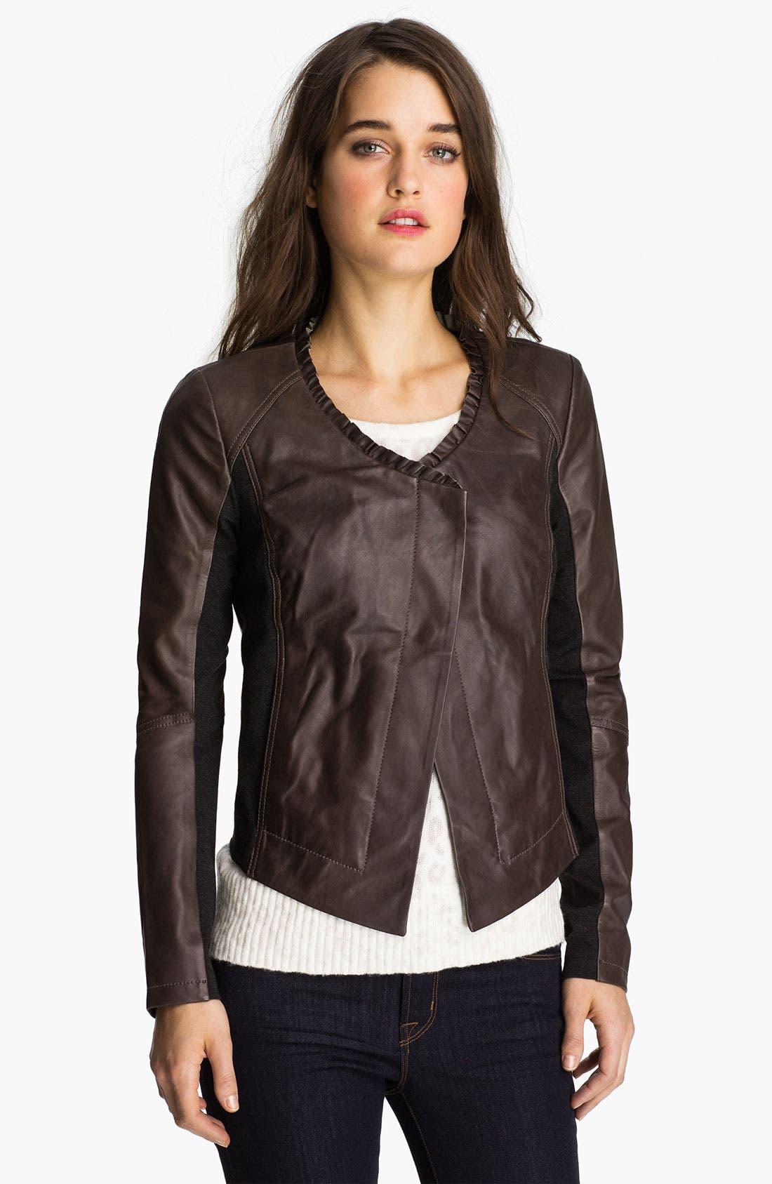 Main Image - Hinge® Ruffle Neck Leather Jacket