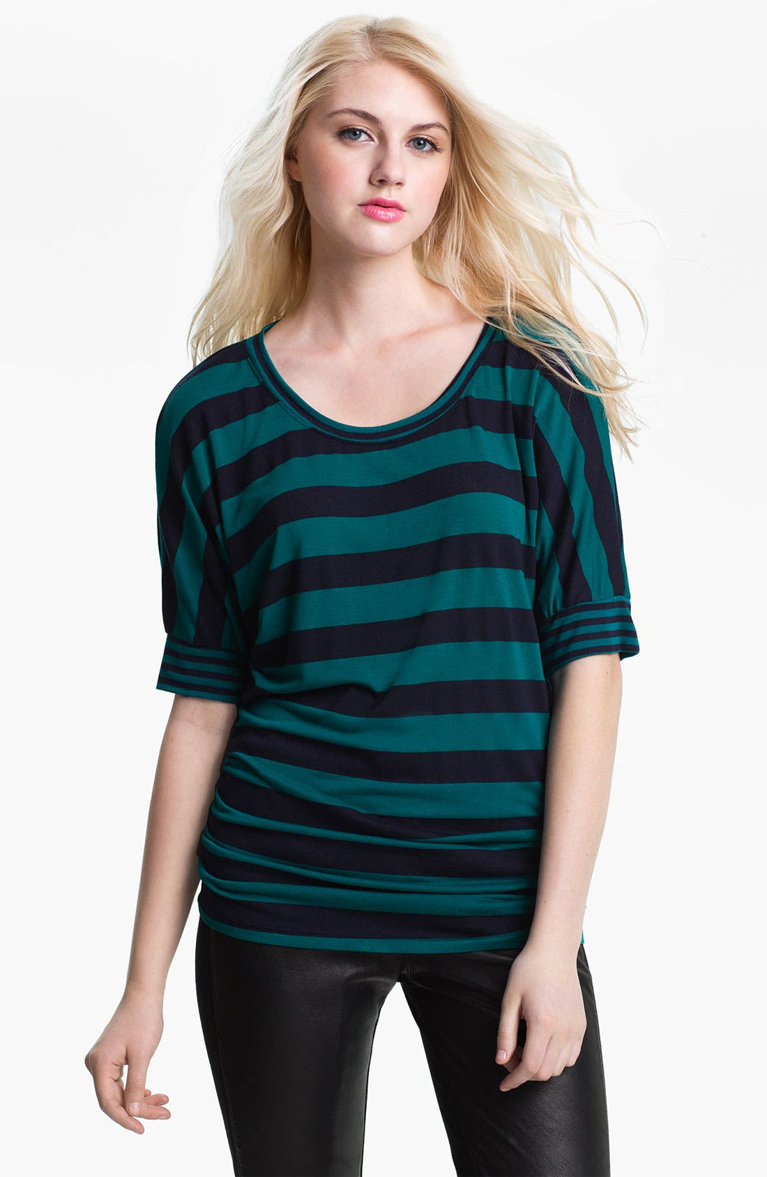 Alternate Image 1 Selected - Olivia Moon Ruched Stripe Tee