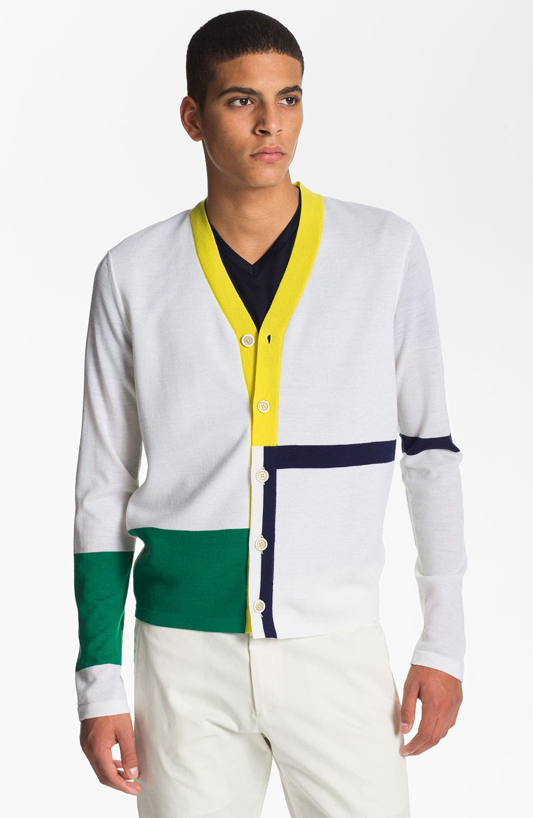Alternate Image 1 Selected - Jil Sander Colorblock Wool Cardigan