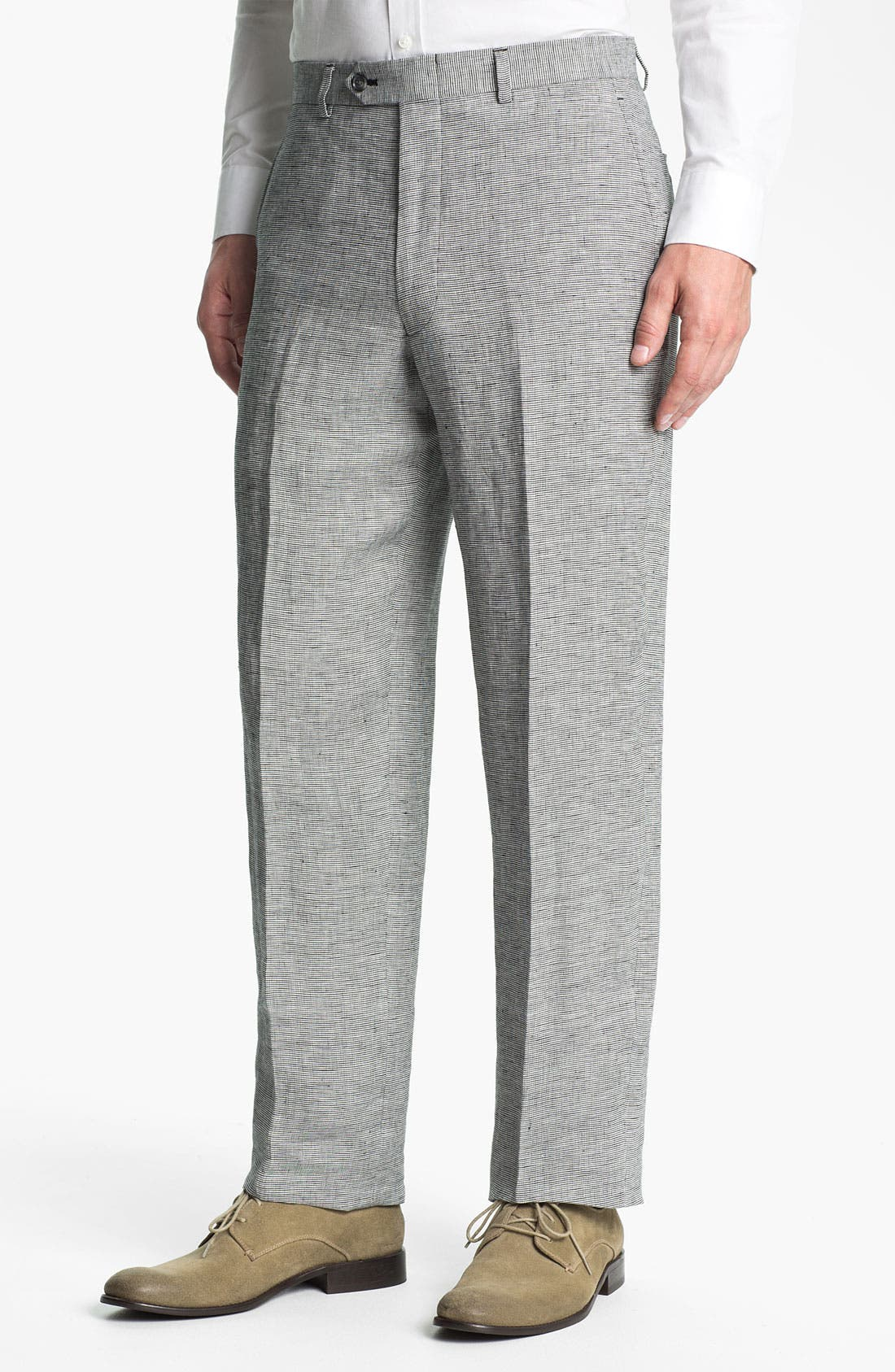 Main Image - John W. Nordstrom® Flat Front Linen Trousers