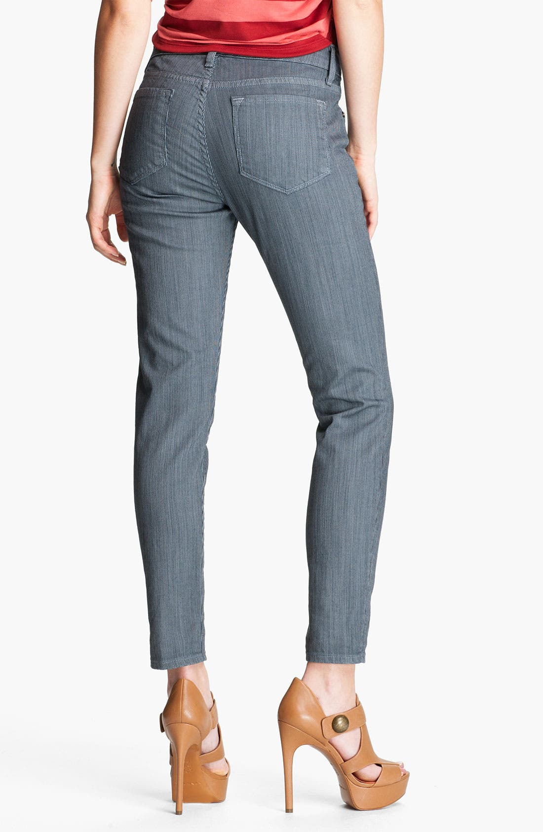 Alternate Image 2  - Blue Essence Pinstripe Skinny Jeans