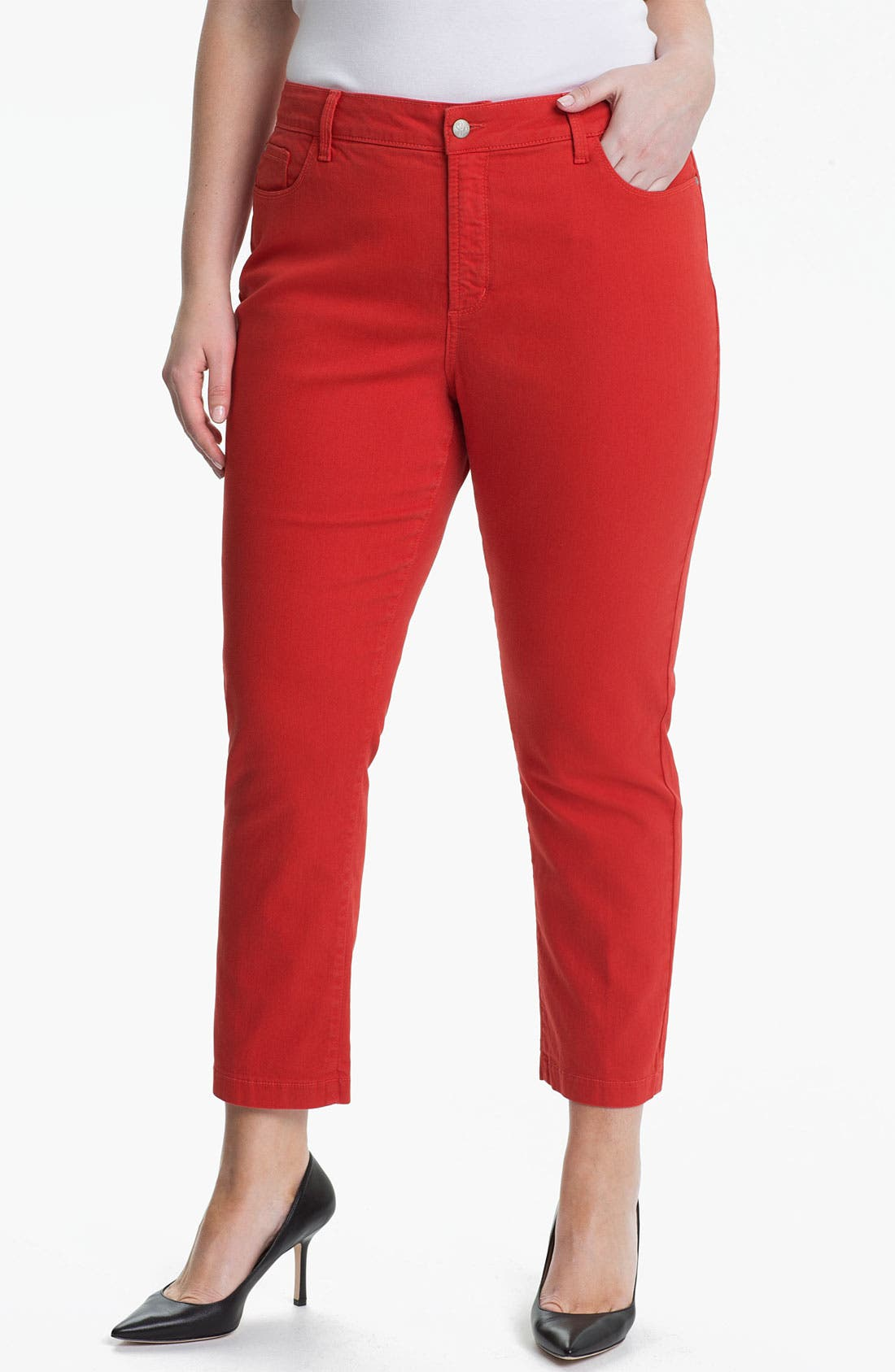 Alternate Image 1 Selected - NYDJ 'Audrey' Stretch Ankle Straight Leg Pants (Plus Size)