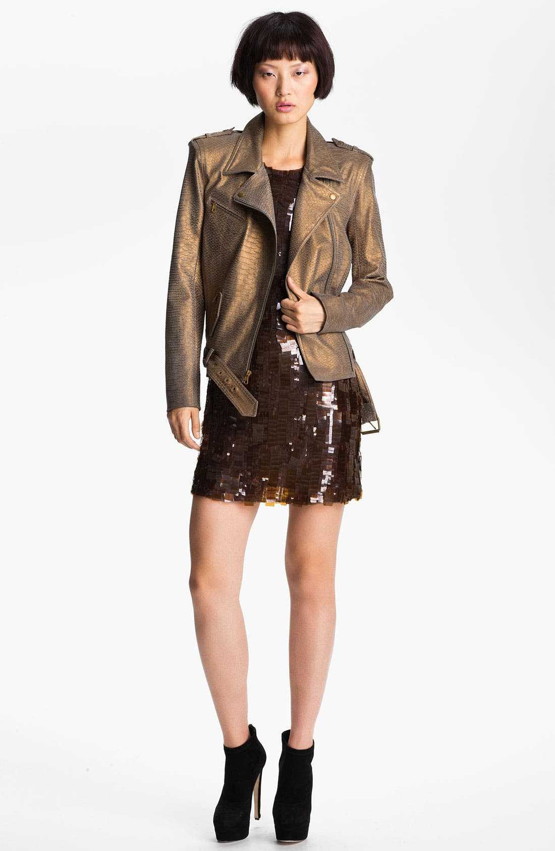Main Image - Skaist-Taylor Belted Stretch Leather Moto Jacket