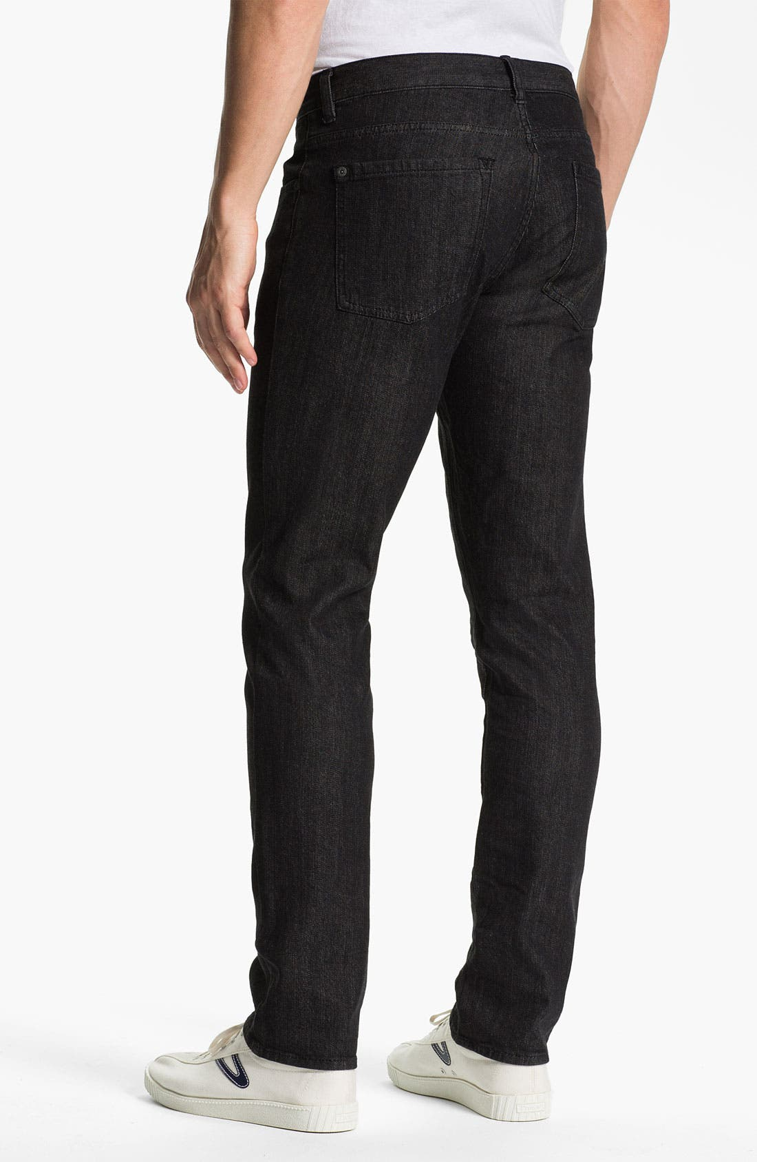 Alternate Image 1 Selected - RVCA 'Daggers' Slim Leg Jeans (Black)