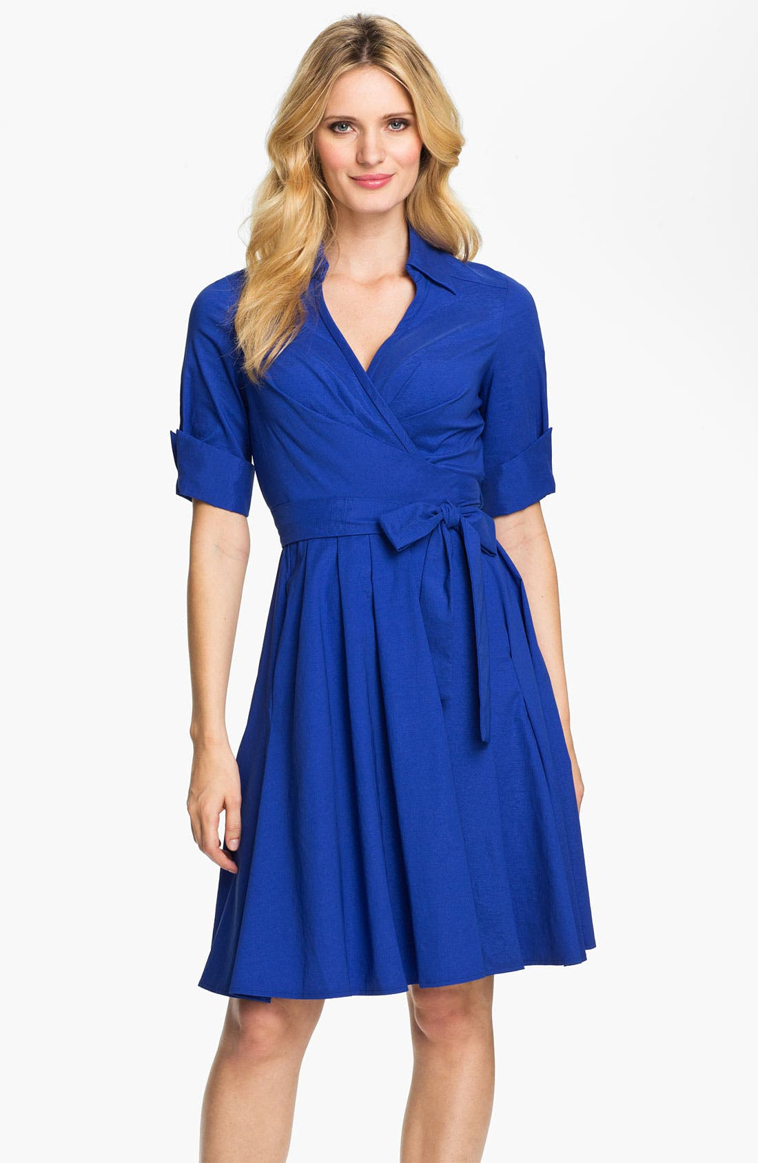 Main Image - Donna Ricco True Wrap Shirtdress