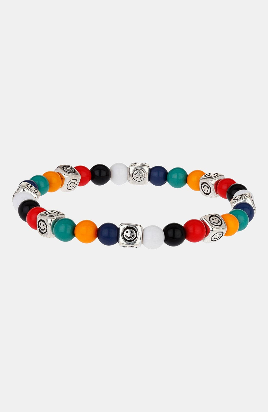 Main Image - Topman 'Happy Face' Beaded Stretch Bracelet