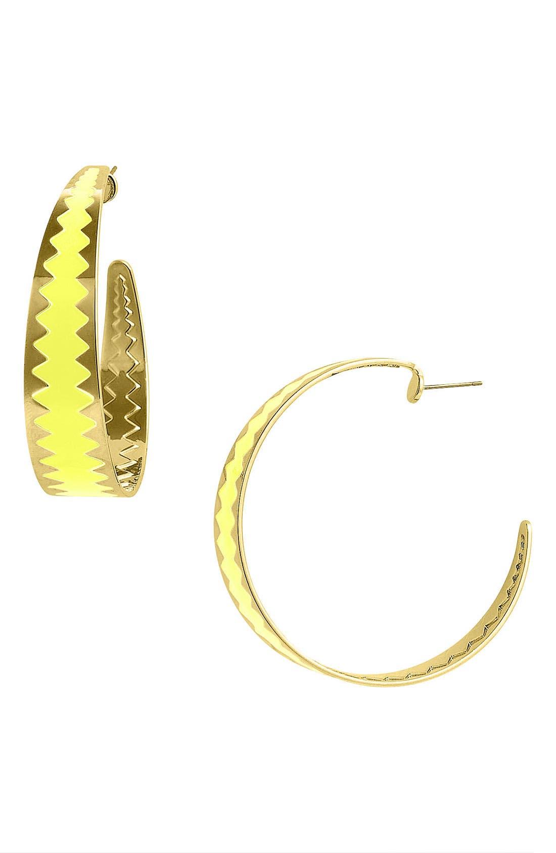 Main Image - Adia Kibur Colored Zigzag Hoop Earrings