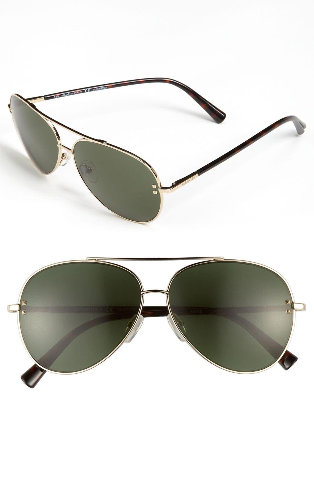 Main Image - Valentino 57mm Metal Aviator Sunglasses