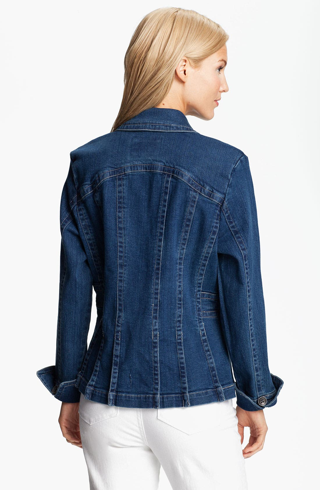 Alternate Image 2  - Tria Pleat Hem Denim Jacket