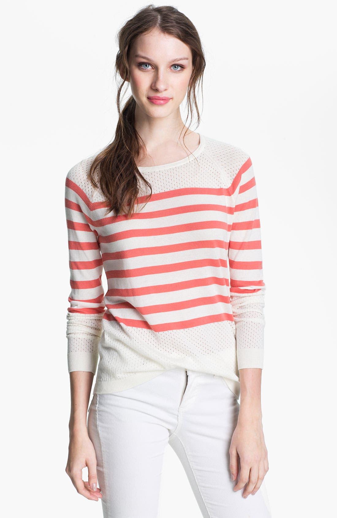 Main Image - Caslon® Stripe Pointelle Sweater